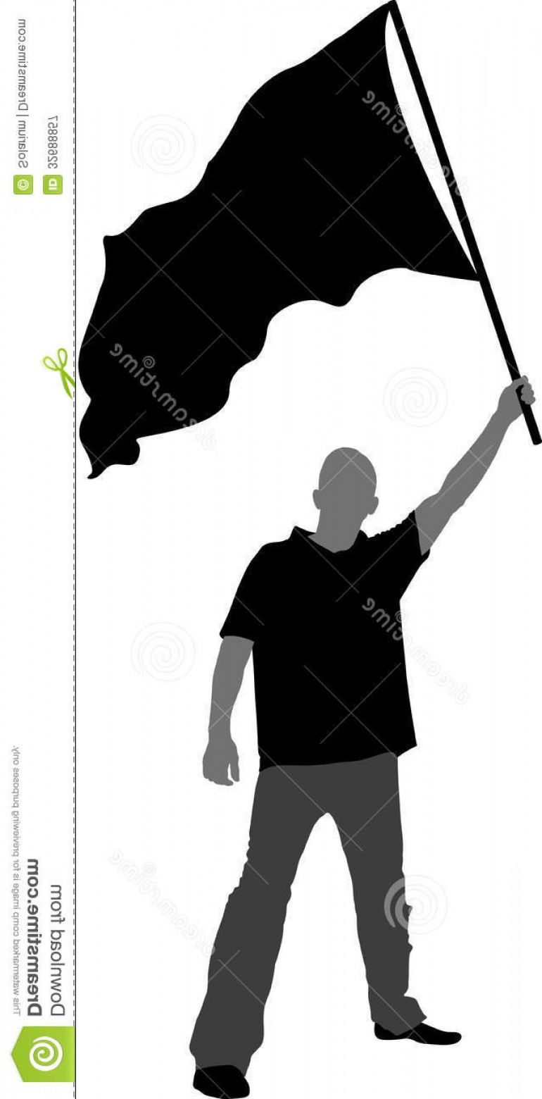 Color Guard Silhouette Vector: Royalty Free Stock Photography Man Flag Silhouette Vector Illustration Image