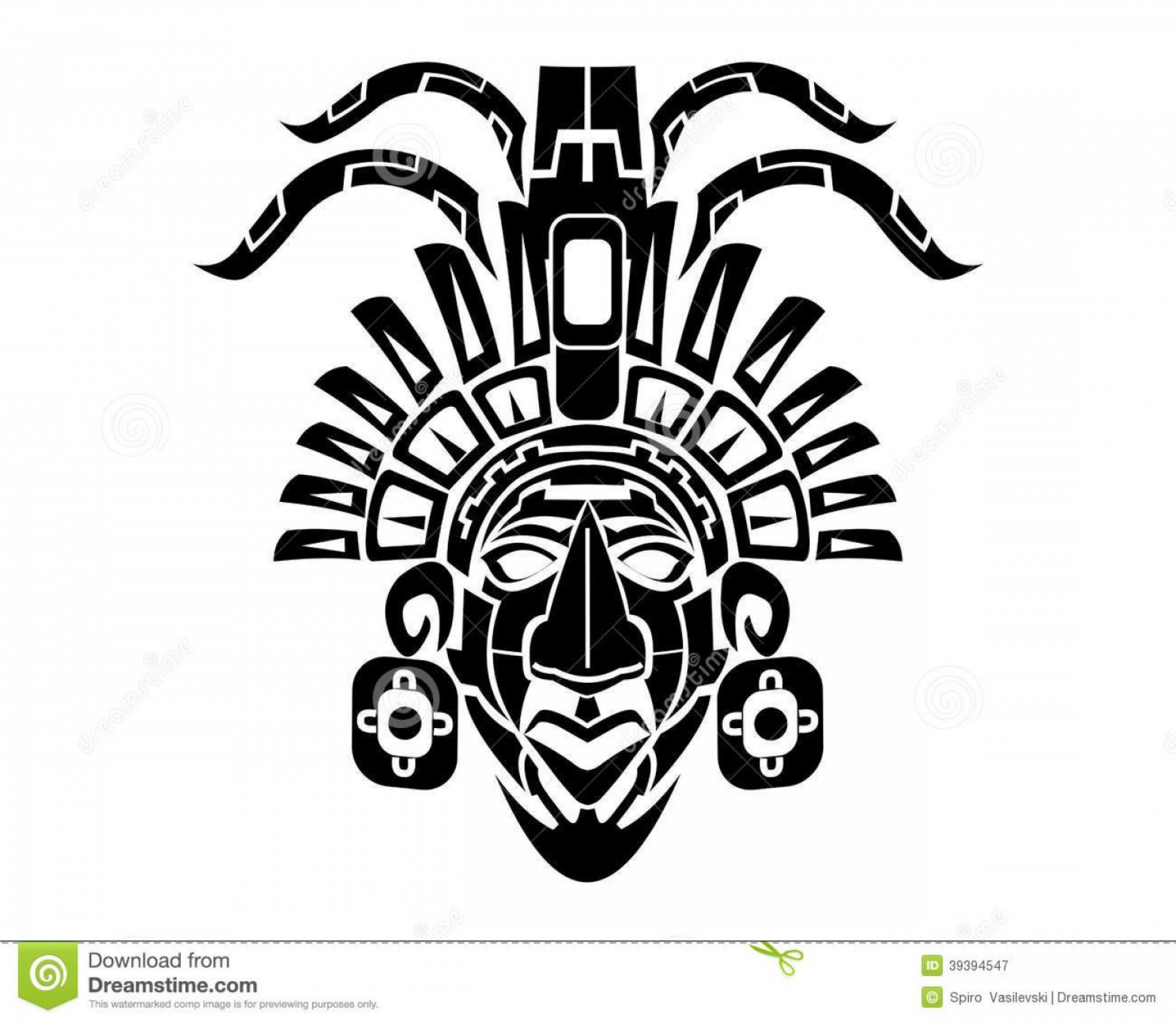 Mayan Vector: Royalty Free Stock Photography Mayan Mack Tribal Tattoo Mask Vector Illustration Image