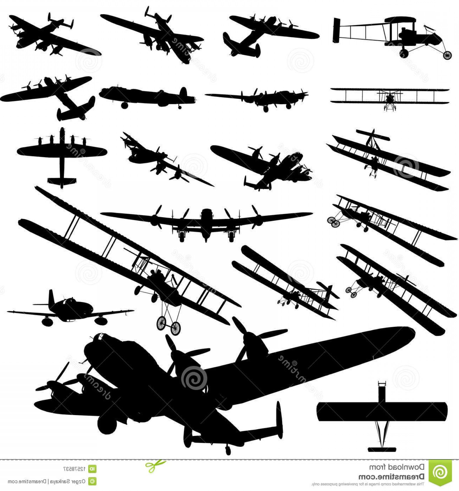 Old School Airplane Fighter Silhouette Vector: Royalty Free Stock Photography Old Plane Image