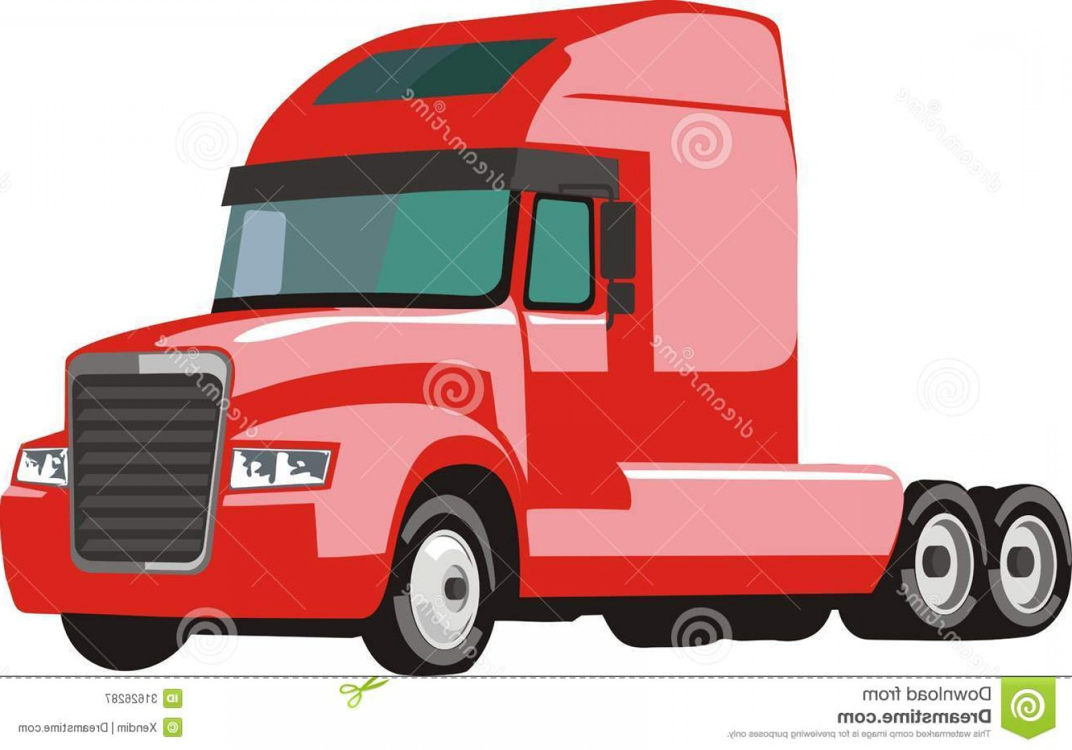 Vector Semi Tanker: Royalty Free Stock Photography Red Semi Trailer Truck Illustration Isolated White Background Image