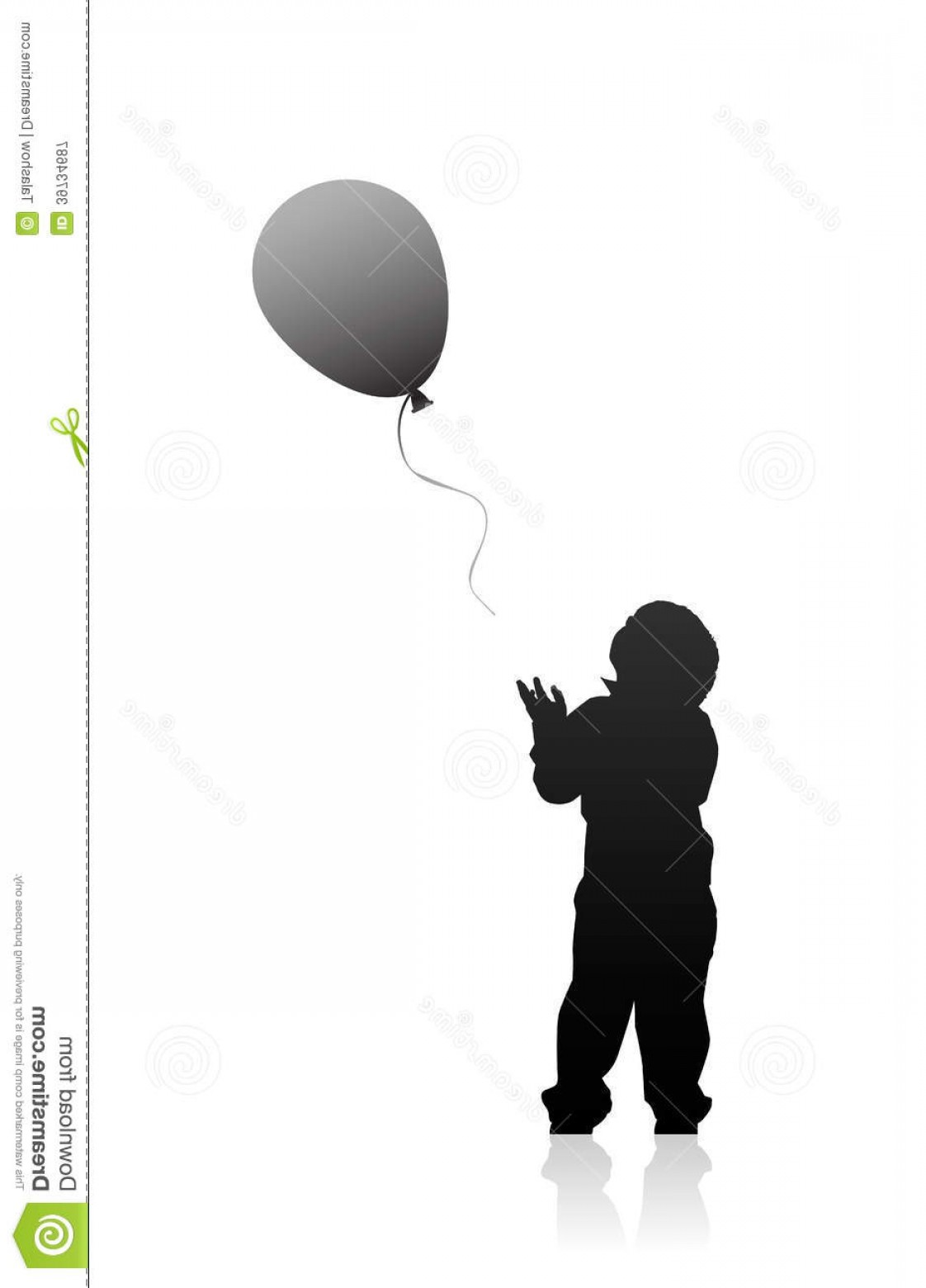 Little Boy Silhouette Vector: Royalty Free Stock Photography Silhouette Boy Balloon Vector Illustration Little Issuing Image