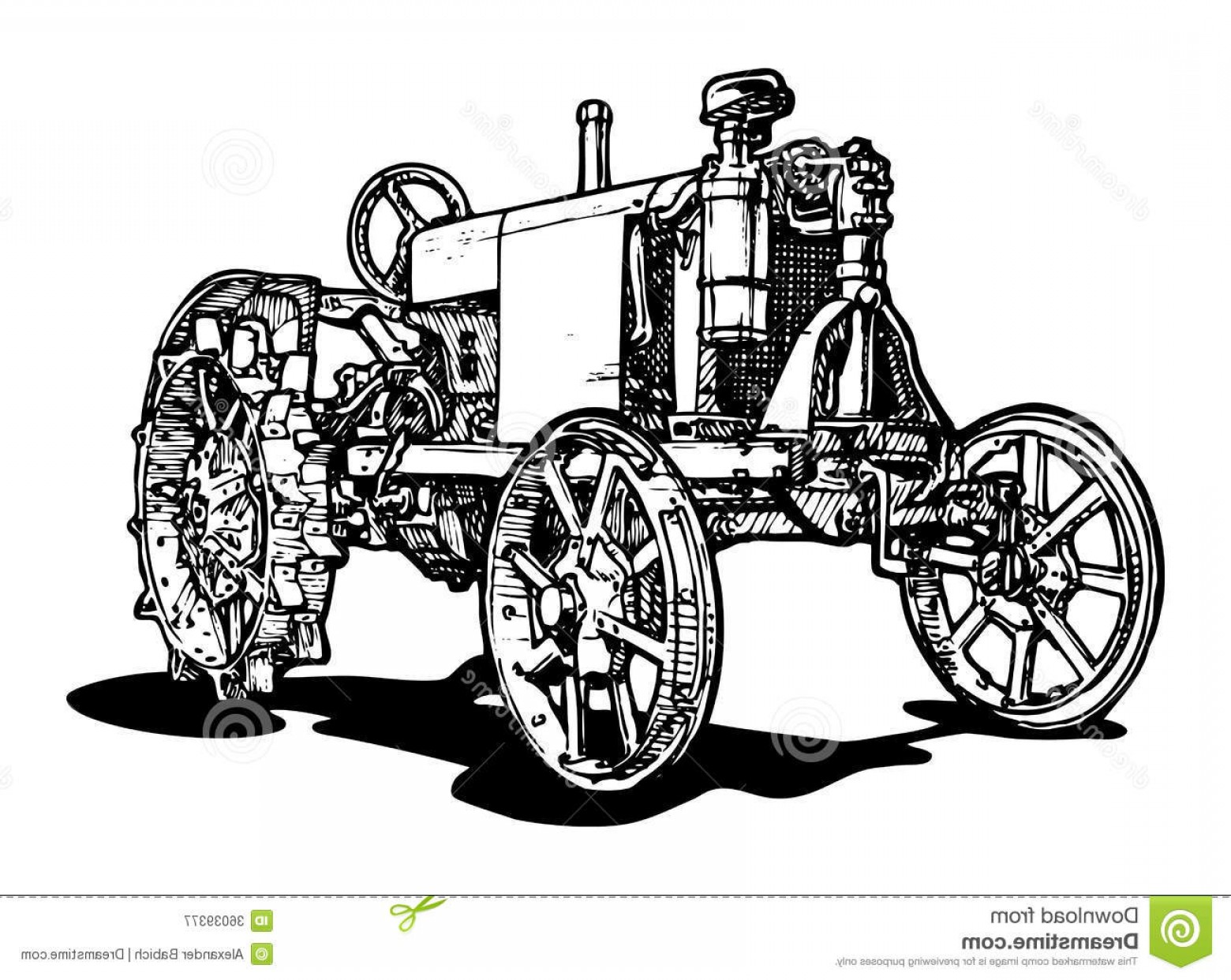 Free Tractor Vector: Royalty Free Stock Photography Tractor Vector Drawing Stylized As Engraving Image