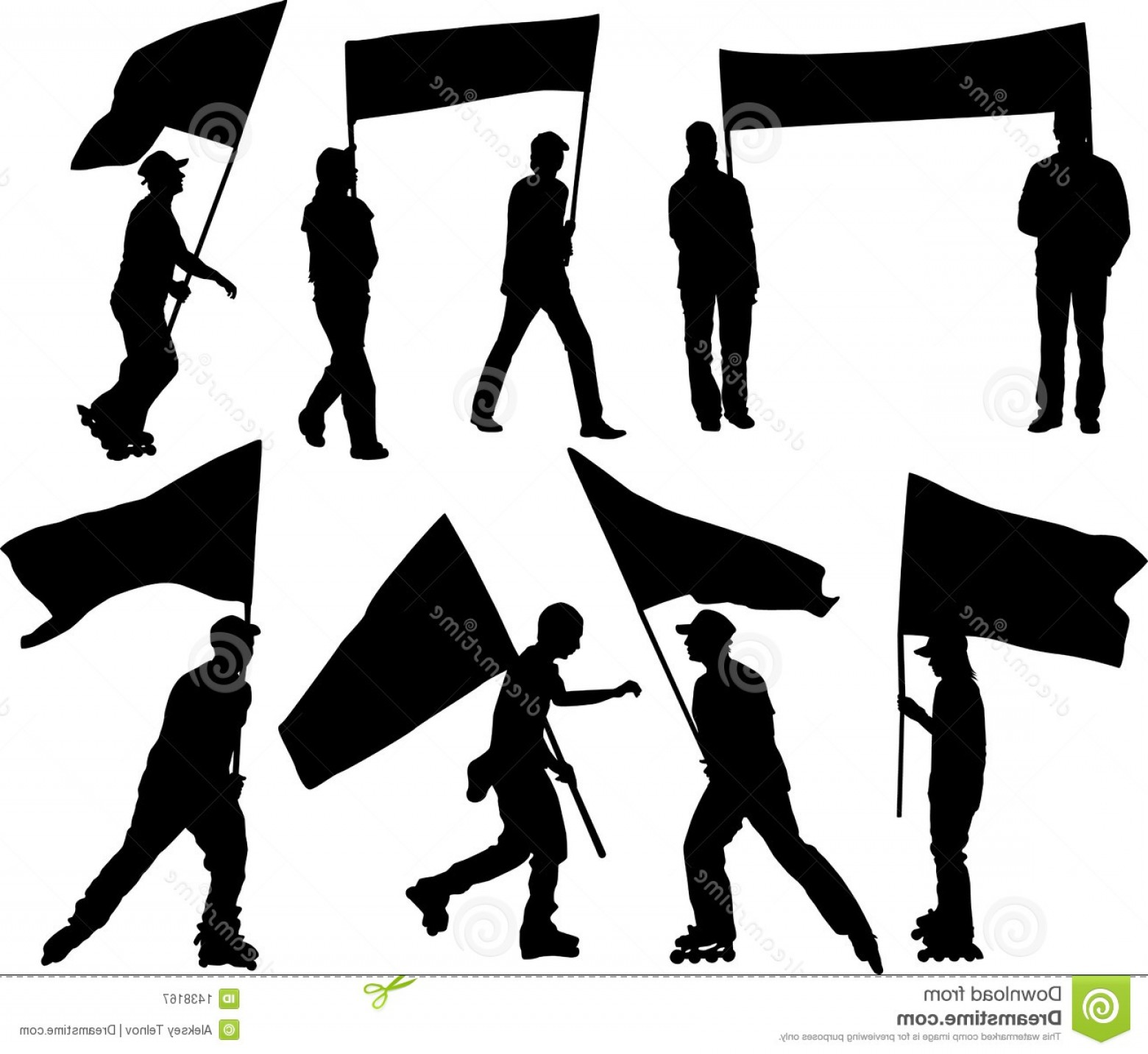 Color Guard Silhouette Vector: Royalty Free Stock Photography Vector Silhouettes Man Women Flag Transparency Image