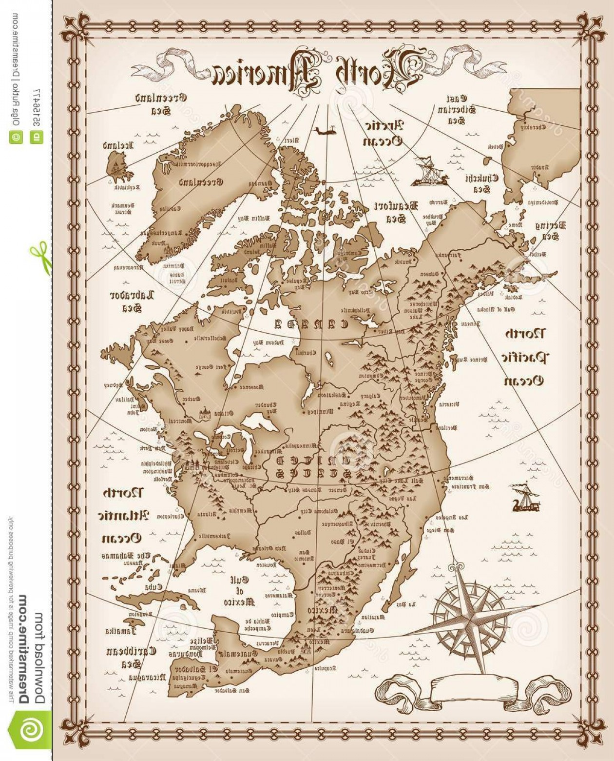 Vintage Map Clipart- Vector: Royalty Free Stock Photography Vintage Map North America Vector Illustration Image