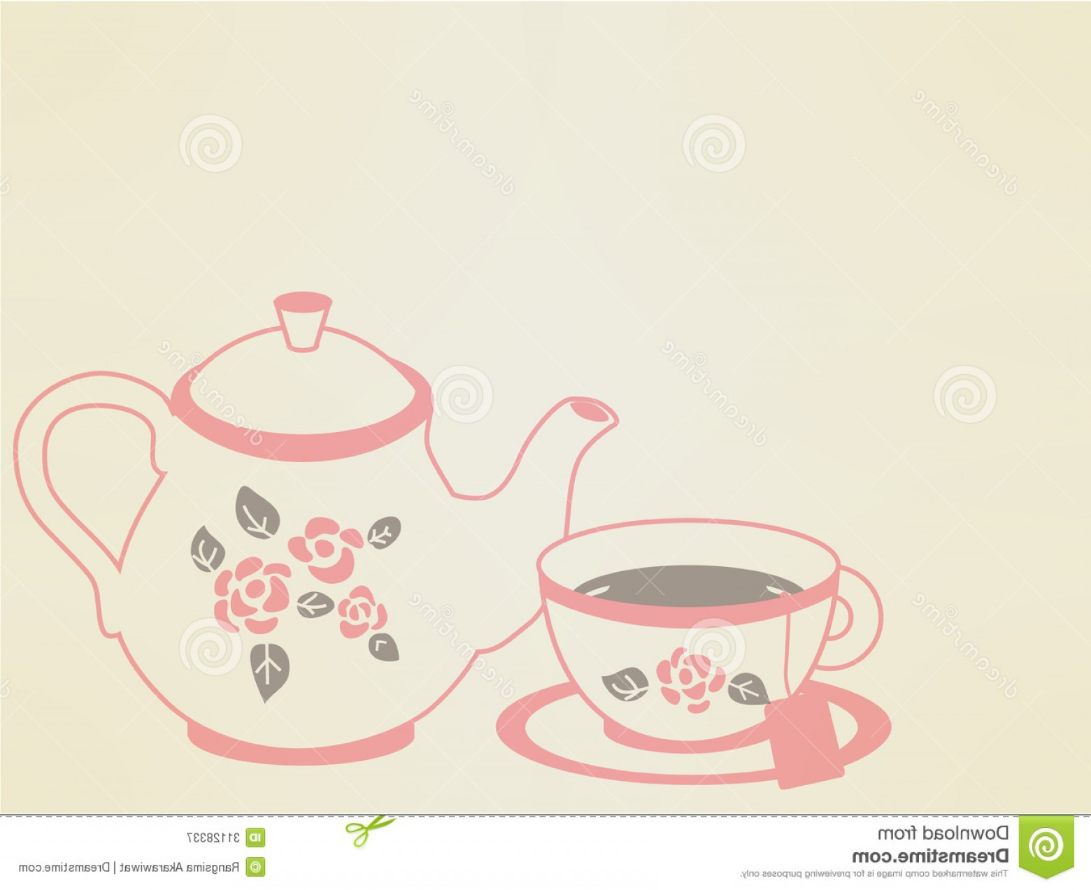 Vintage Tea Cup Vector: Royalty Free Stock Photography Vintage Tea Pot Set Vector File Eps Image