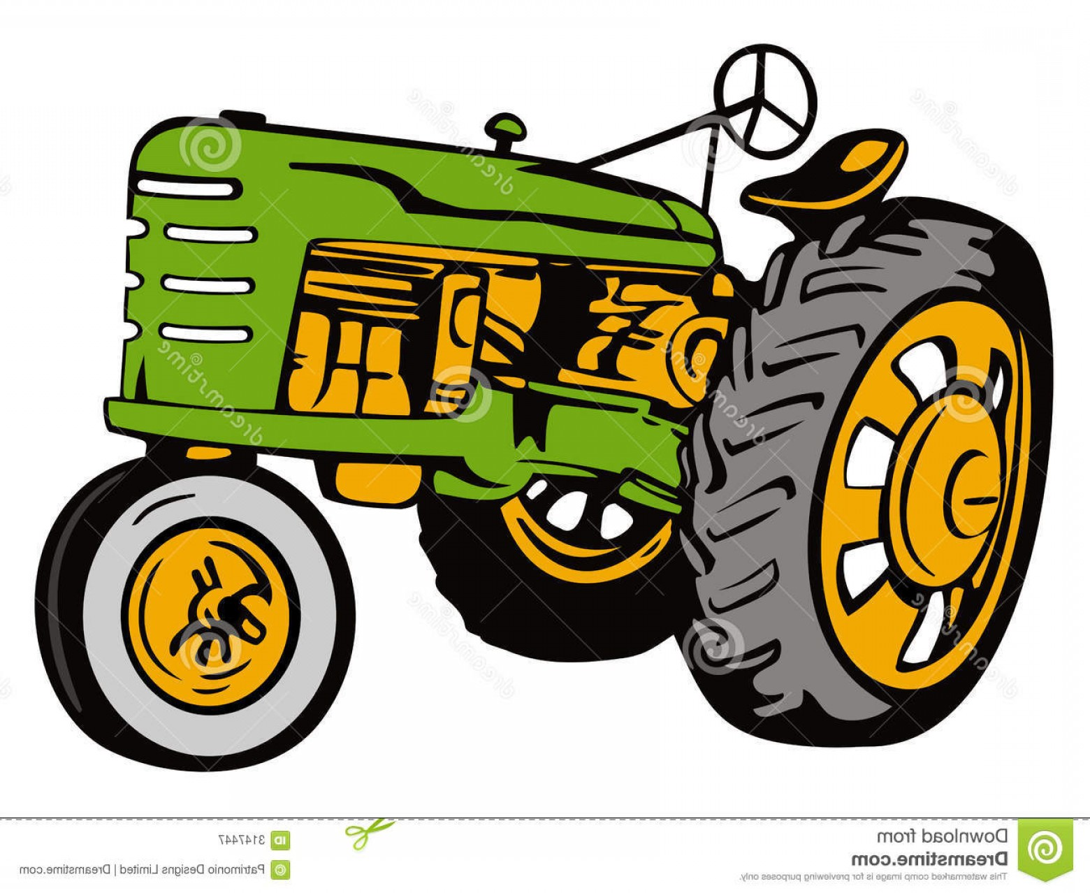Vintage Tractor Vector Art: Royalty Free Stock Photography Vintage Tractor Green Image