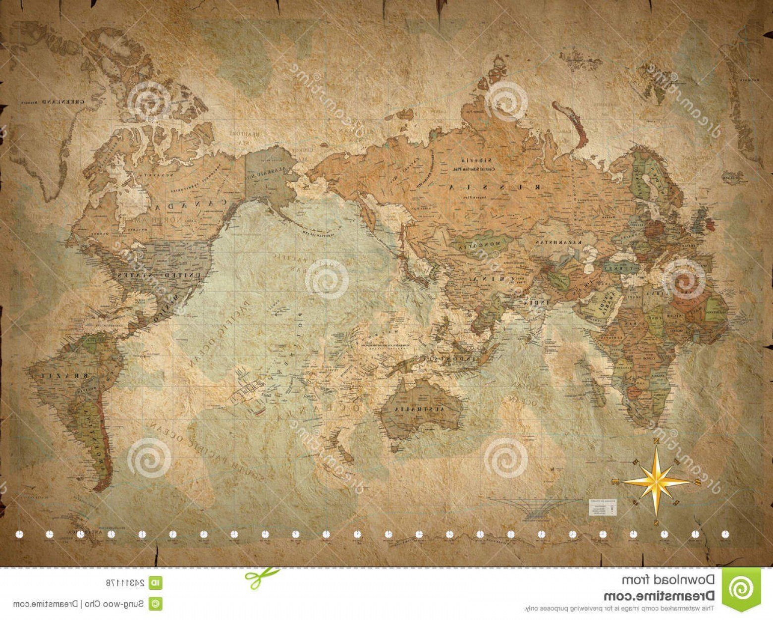 Vintage Map Clipart- Vector: Royalty Free Stock Photos Antique World Map Image