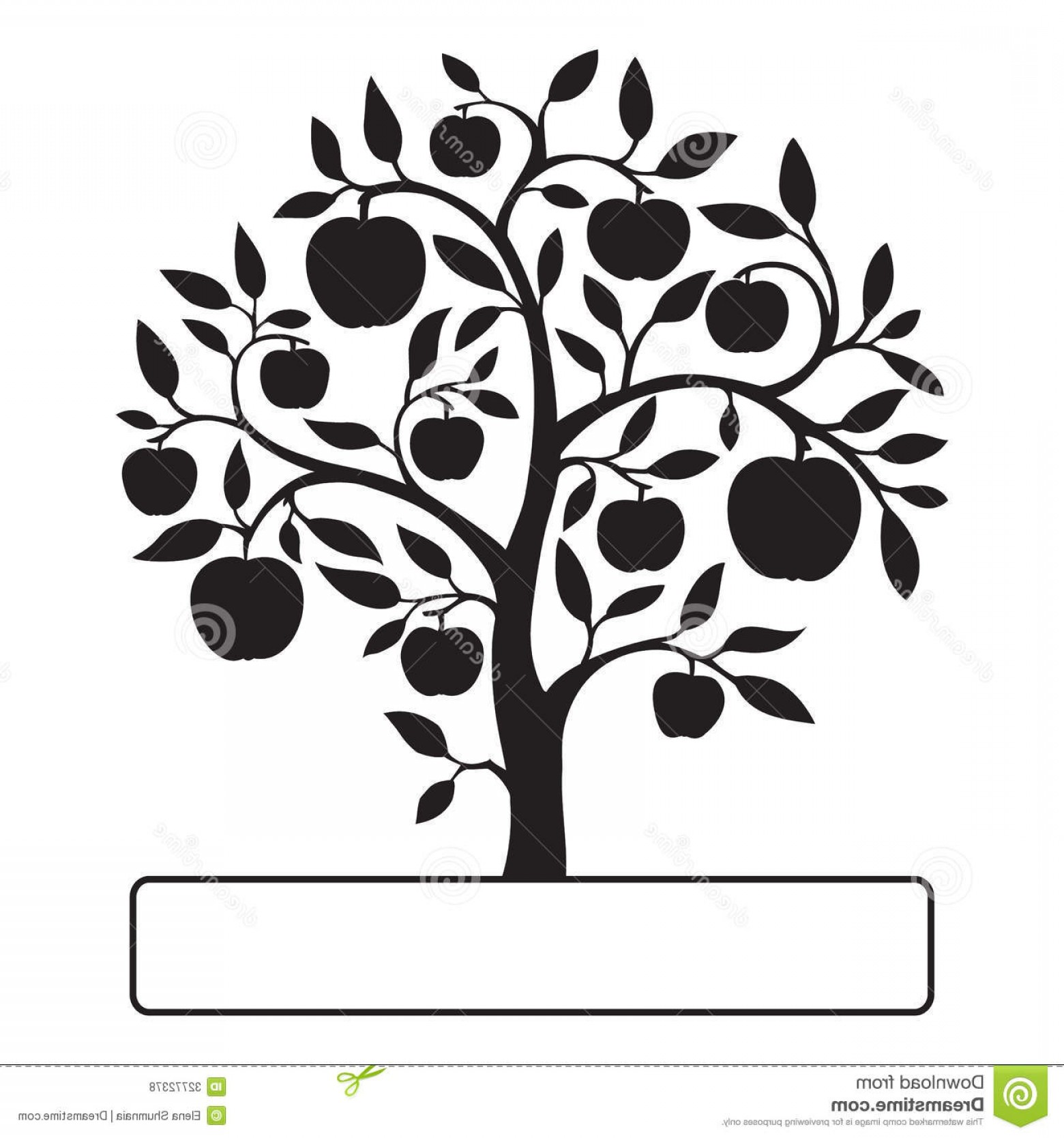 Apple Tree Vector Black: Royalty Free Stock Photos Black Apple Tree Text Box Leaves Apples Isolated White Background Image