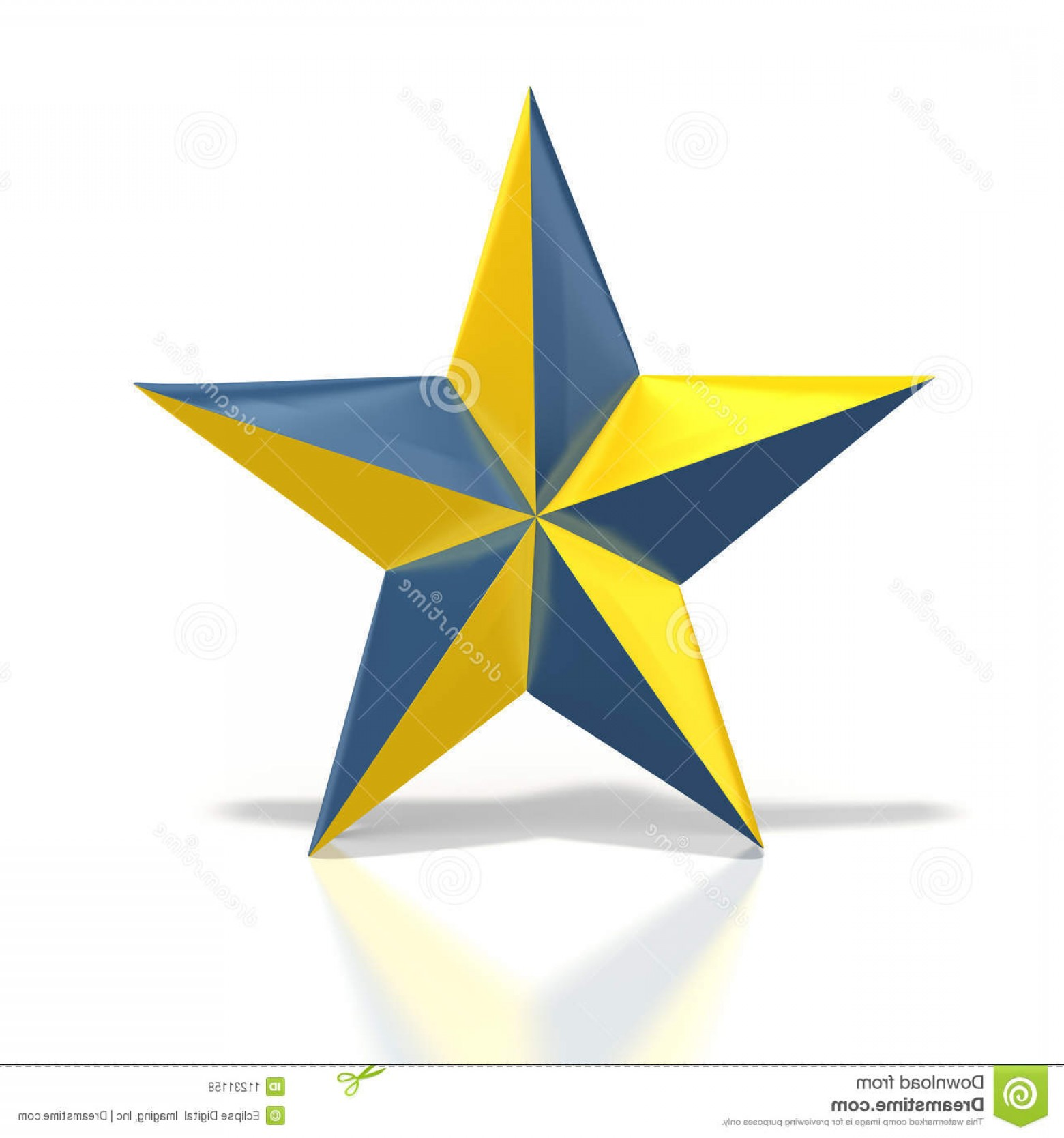 4 Point Nautical Star Vector: Royalty Free Stock Photos Blue Yellow Star Image