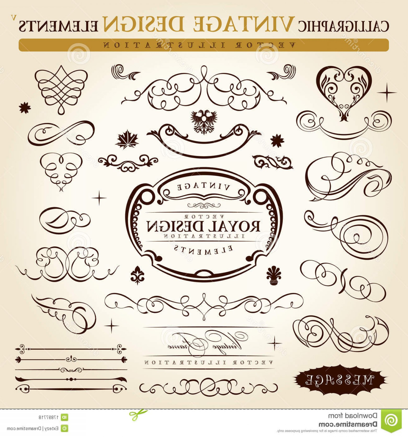 Vintage Ornate Vectors: Royalty Free Stock Photos Calligraphic Vintage Ornament Vector Frame Image