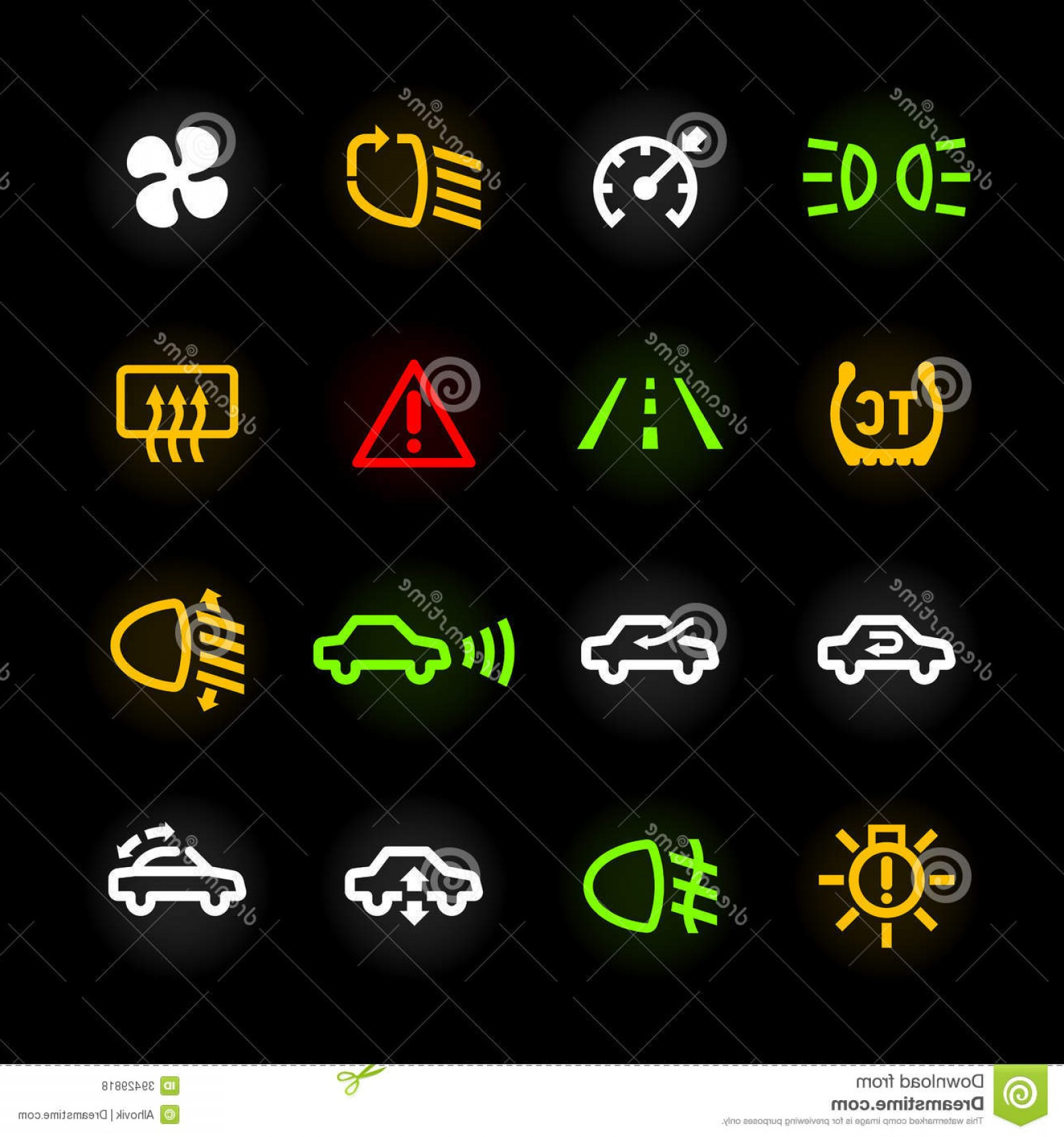 Air Conditioners Stabilizer Vector: Royalty Free Stock Photos Car Dashboard Icons Set Image
