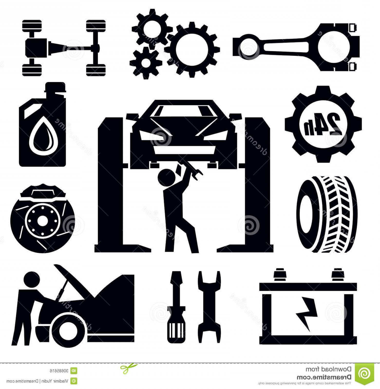 Fixing Car Vector: Royalty Free Stock Photos Car Service Maintenance Icon Set Vector Illustration Image