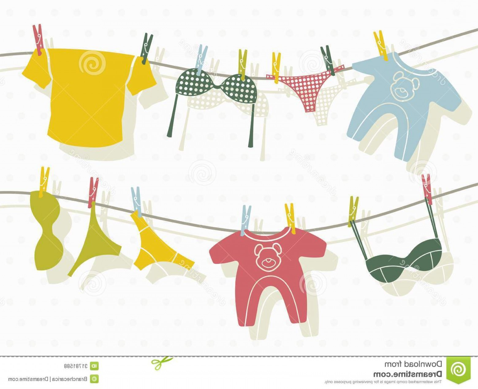Clothes For Washing Vector: Royalty Free Stock Photos Clothes Washing Line Vector Illustration Image