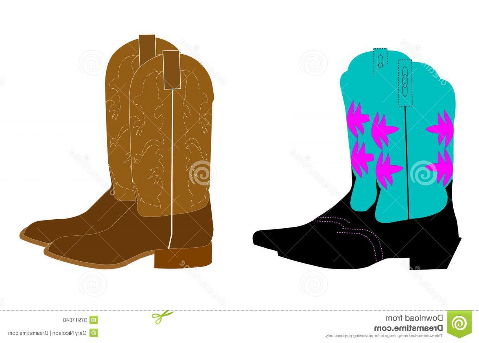 Two Cowgirl Boots Vector: Royalty Free Stock Photos Cowboy Boots Men Ladies Over White Image