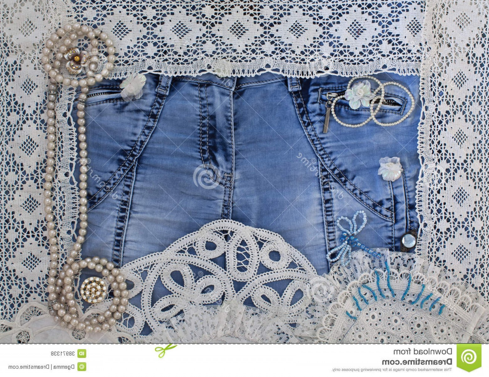 Denim And Pearls Vector: Royalty Free Stock Photos Denim Background Lace Women S Jewelry Image