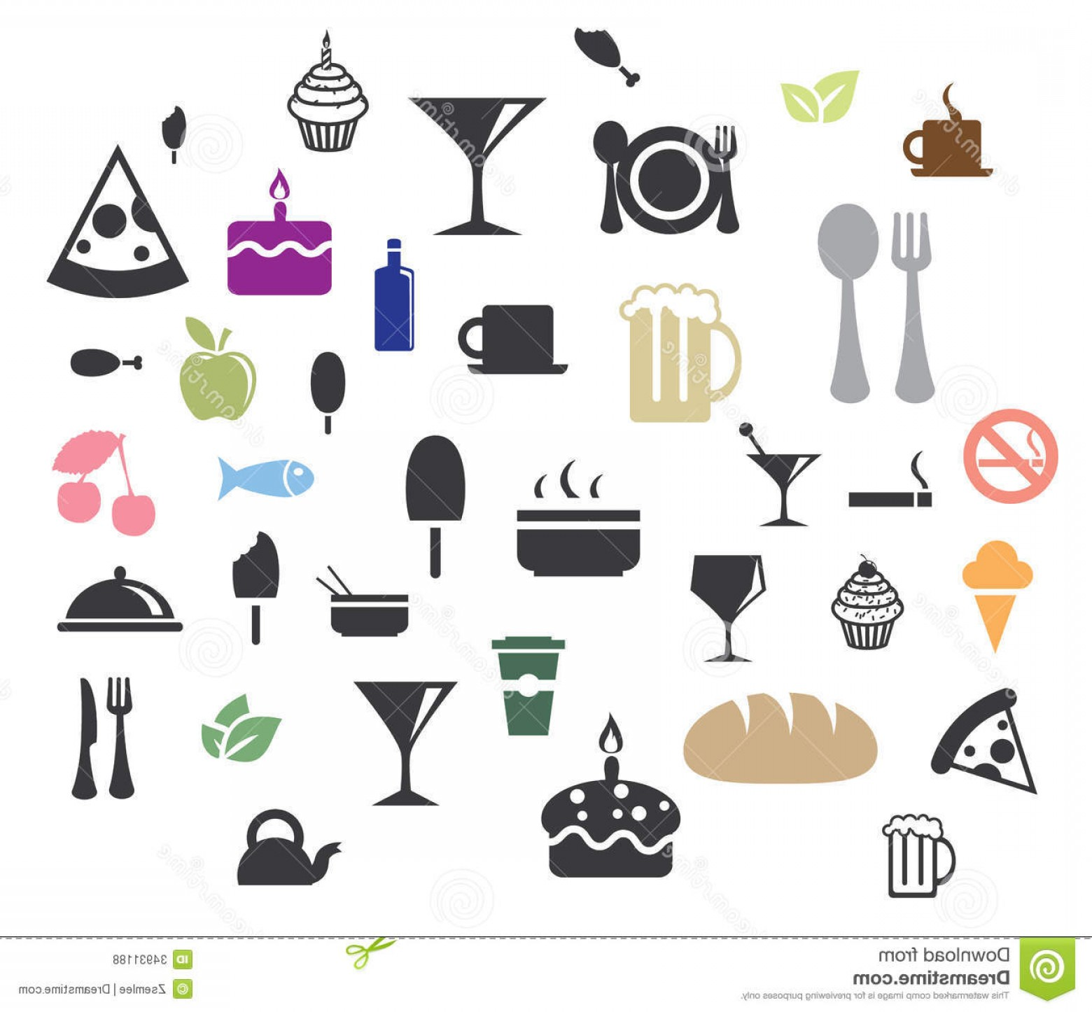L Unch Icon In Vector: Royalty Free Stock Photos Food Icons Vector Various Mini Image