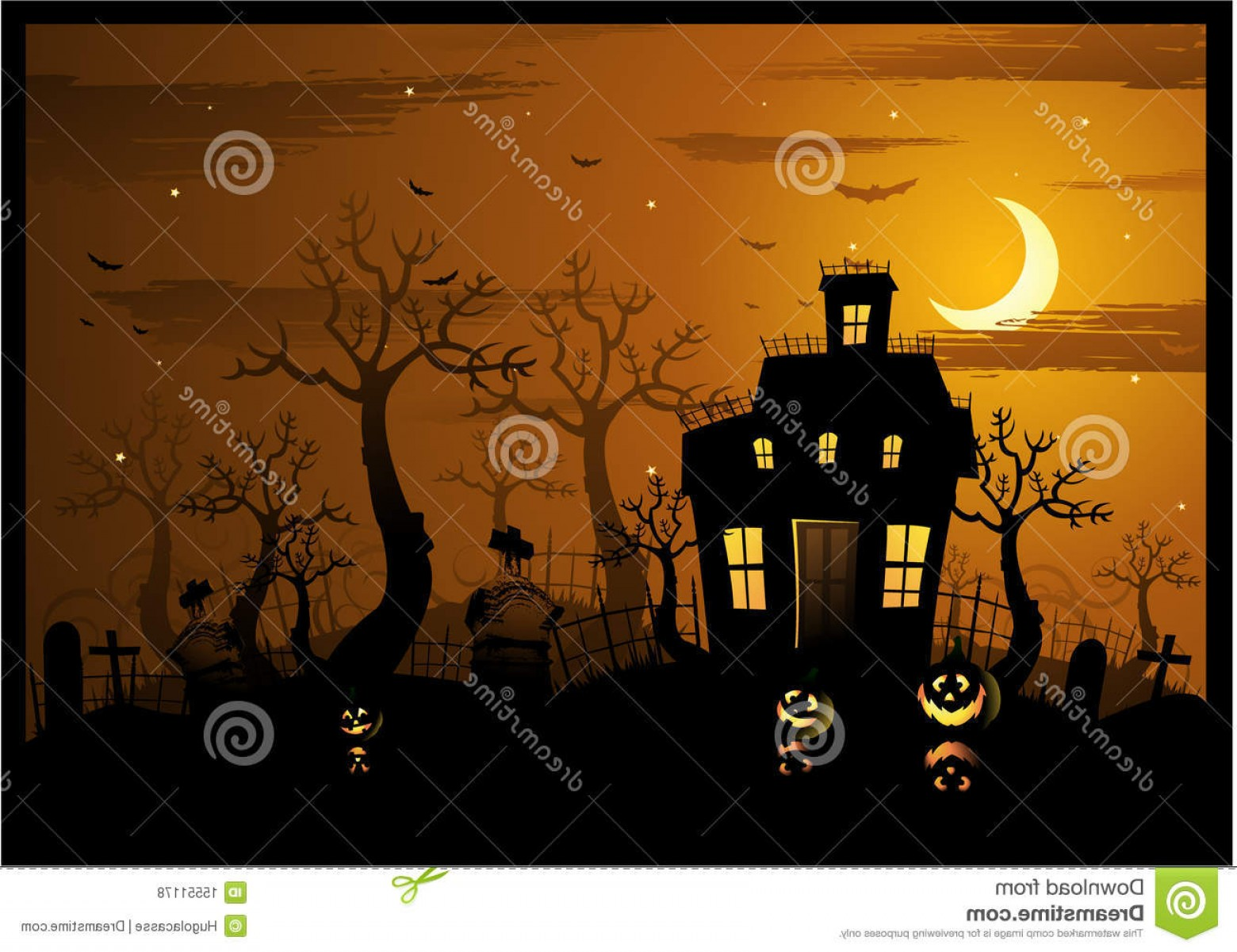 Halloween Haunted House Silhouette Vector: Royalty Free Stock Photos Halloween Haunted House Background Image