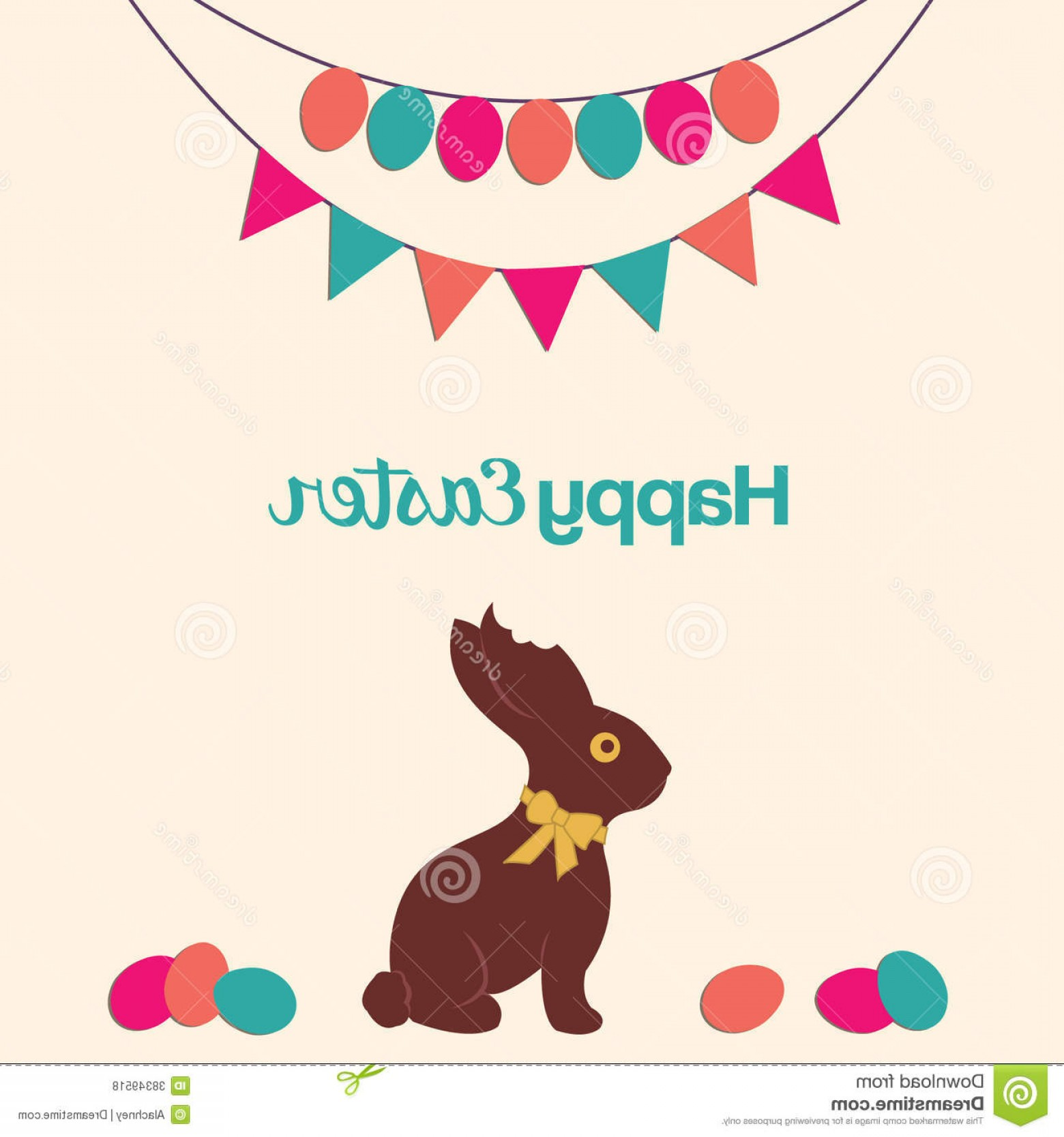 Chocolate Bunny Vector: Royalty Free Stock Photos Happy Easter Chocolate Bunny Vector Illustration Image
