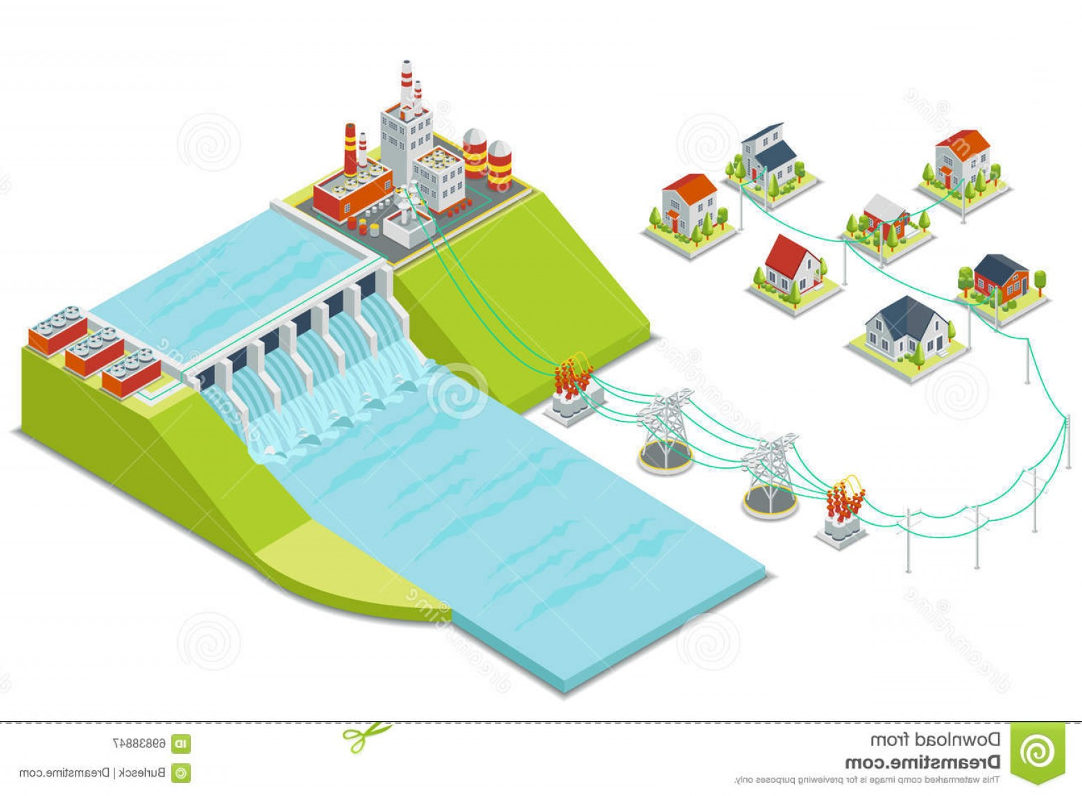 Vector Power Plant Utility: Royalty Free Stock Photos Hydro Electricity Utilities Bill Image