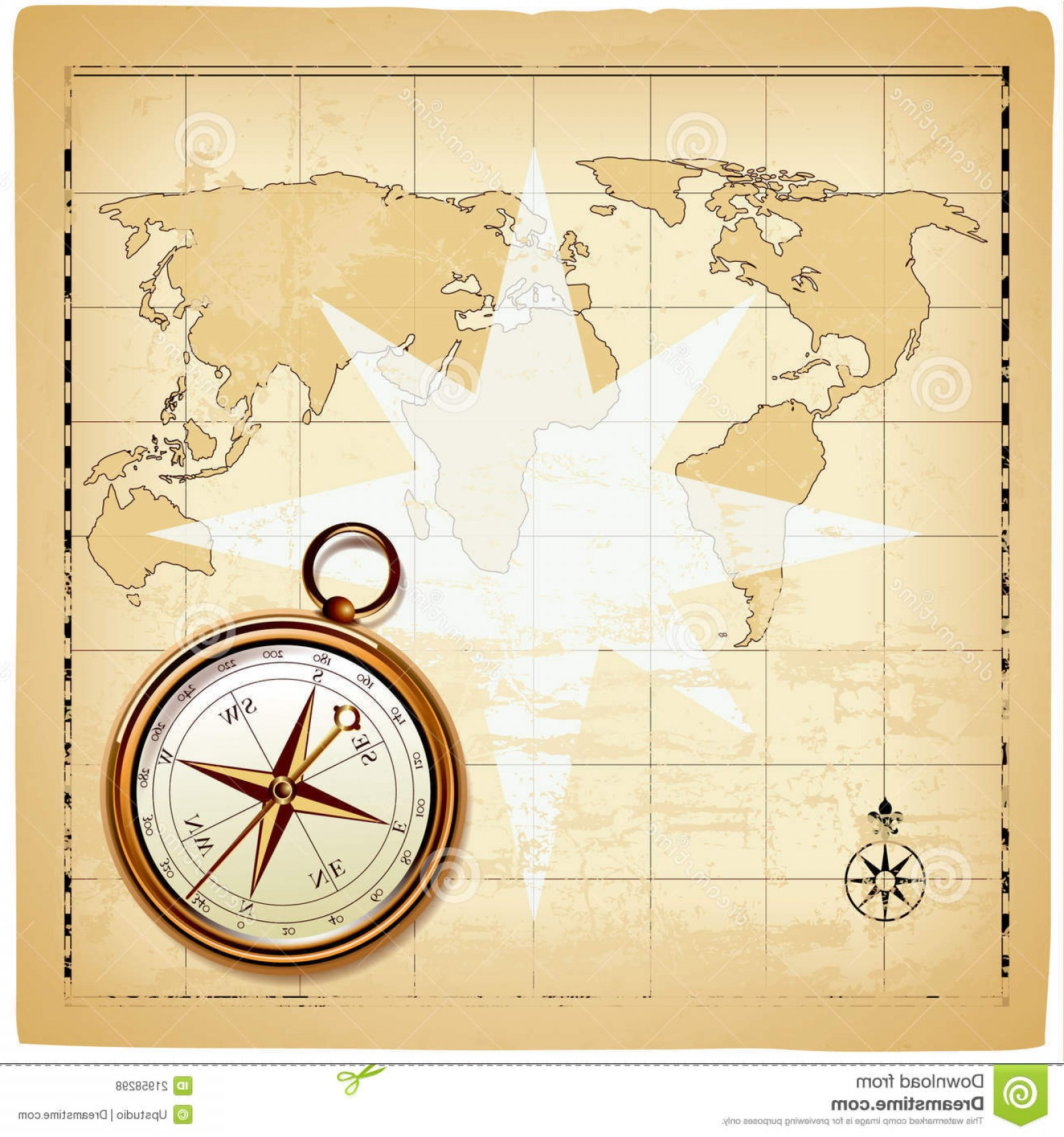 Vintage Map Clipart- Vector: Royalty Free Stock Photos Old Compass Vintage Map Image