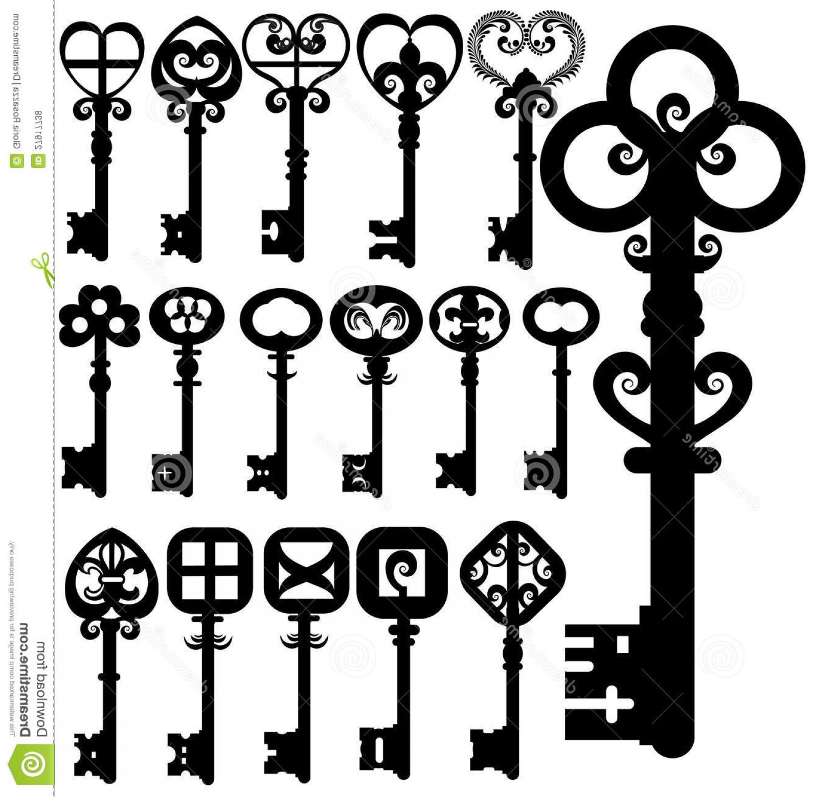 Old Key Vector: Royalty Free Stock Photos Old Keys Silhouettes Image