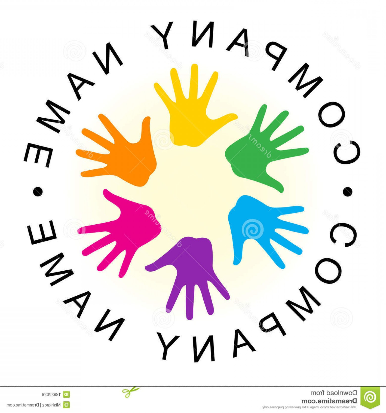 Vector Group Of Hands Overlapped: Royalty Free Stock Photos Rainbow Unity Hand Logo Image