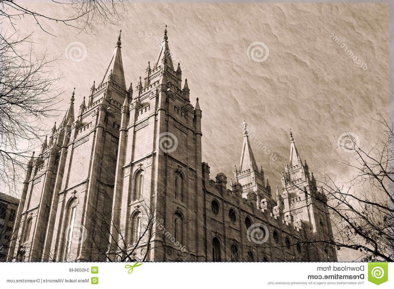 Salt Lake City Temple Vector: Royalty Free Stock Photos Salt Lake City Temple Sepia Square Downtown Built Settlers Mormon Take Years To Build Image