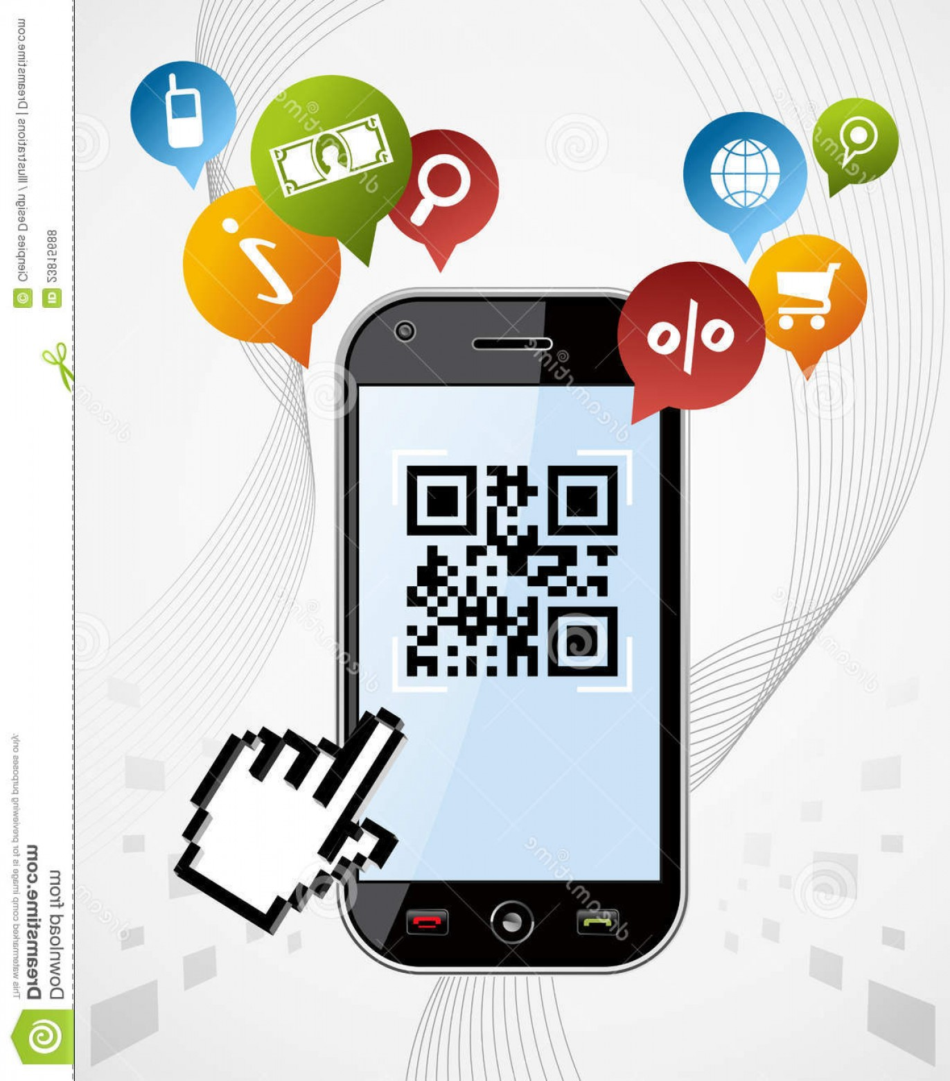 QR Mobile Phone Vector: Royalty Free Stock Photos Smart Phone Qr Code App Vector Illustration Image