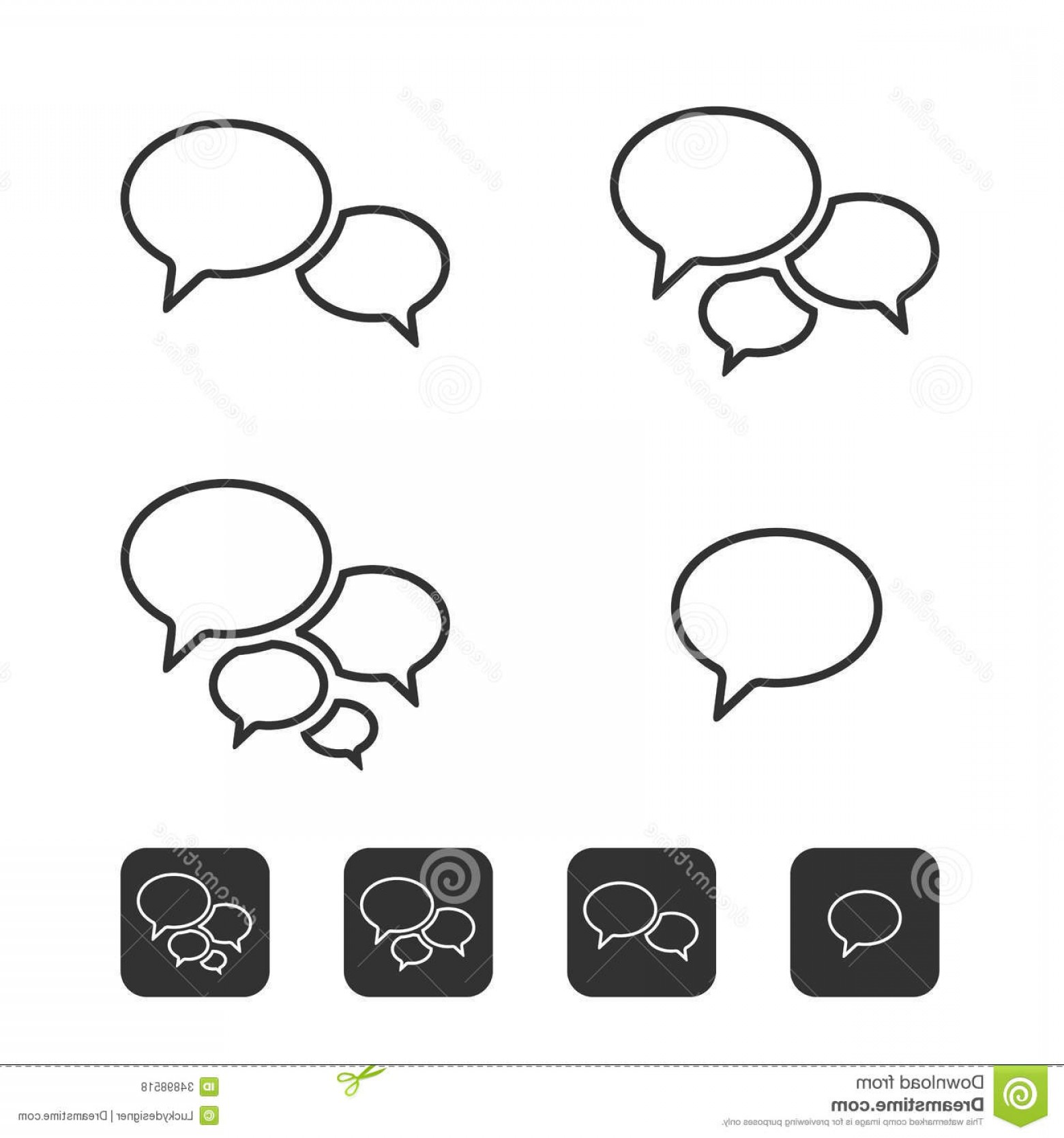 Speech Bubble Icon Vector: Royalty Free Stock Photos Trendy Thin Icons Speech Bubbles Set Vector Image
