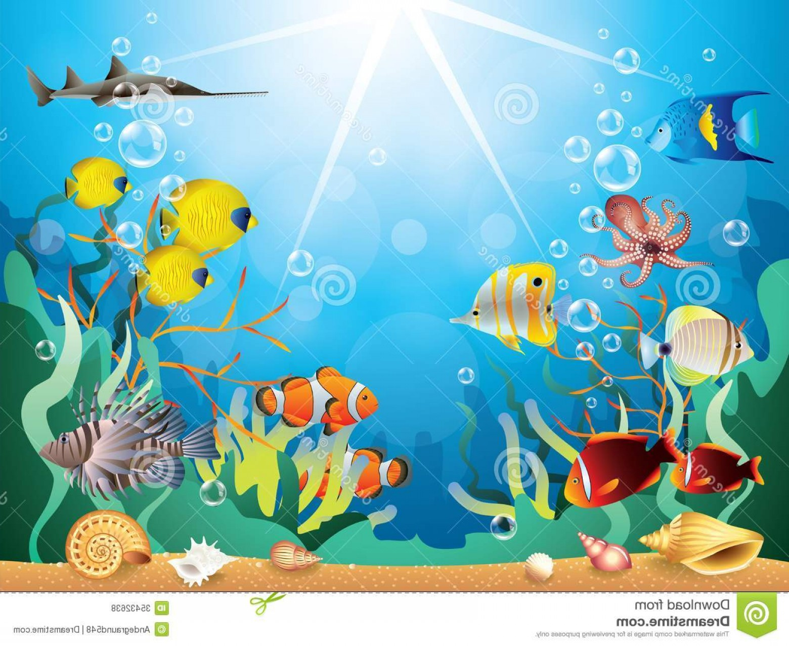 Underwater Sea Vector Art: Royalty Free Stock Photos Underwater World Vector Illustration Reefs Tropical Fishes Image