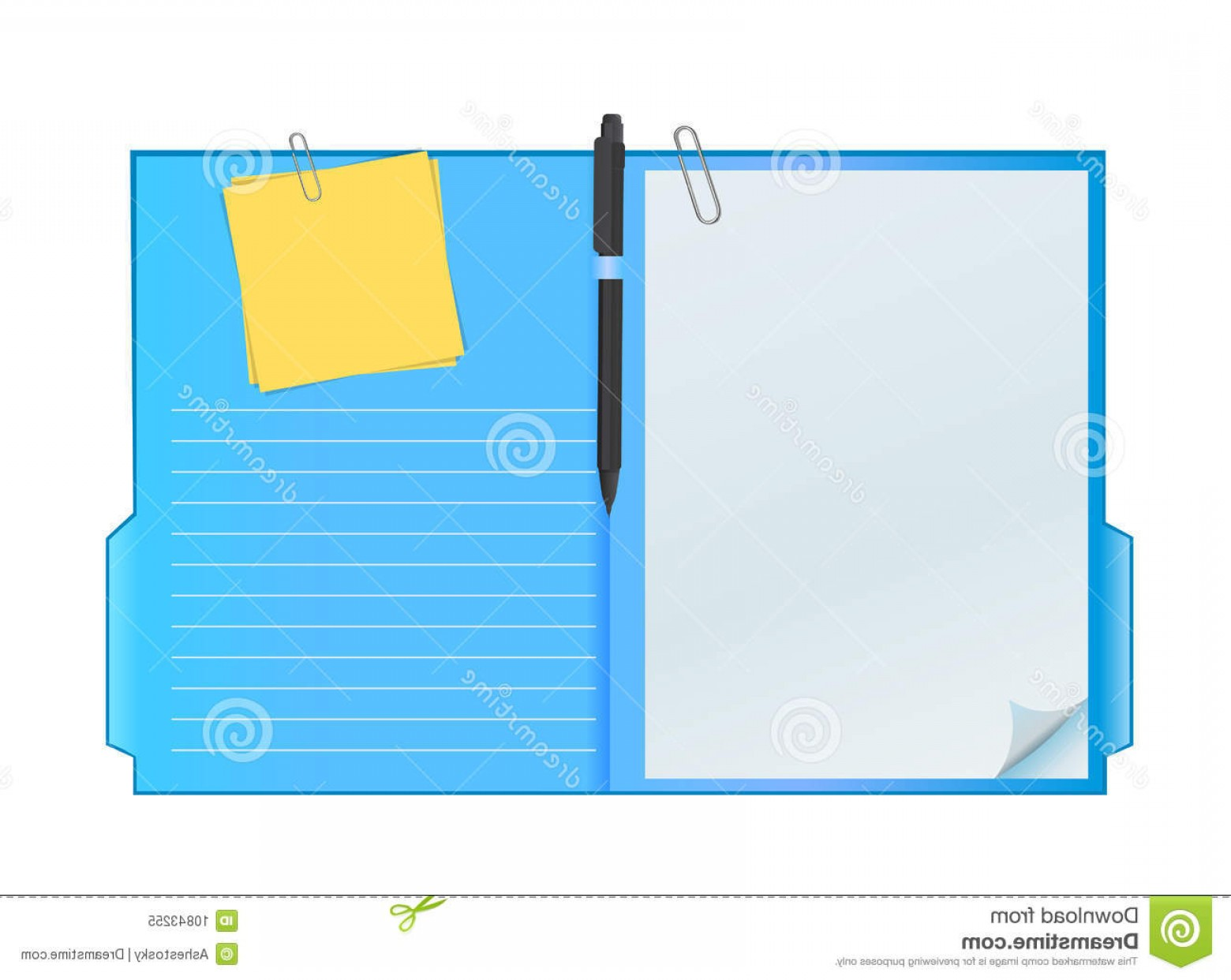 Folder Tab Vectors: Royalty Free Stock Photos Vector Clipboard Sheets Paper Pen Image