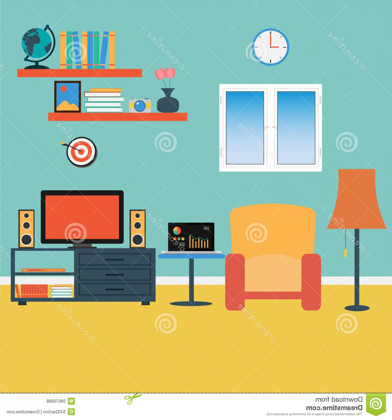 Vector Background For Living Room: Royalty Free Stock Photos Vector Living Room Sofa Windows Book Image
