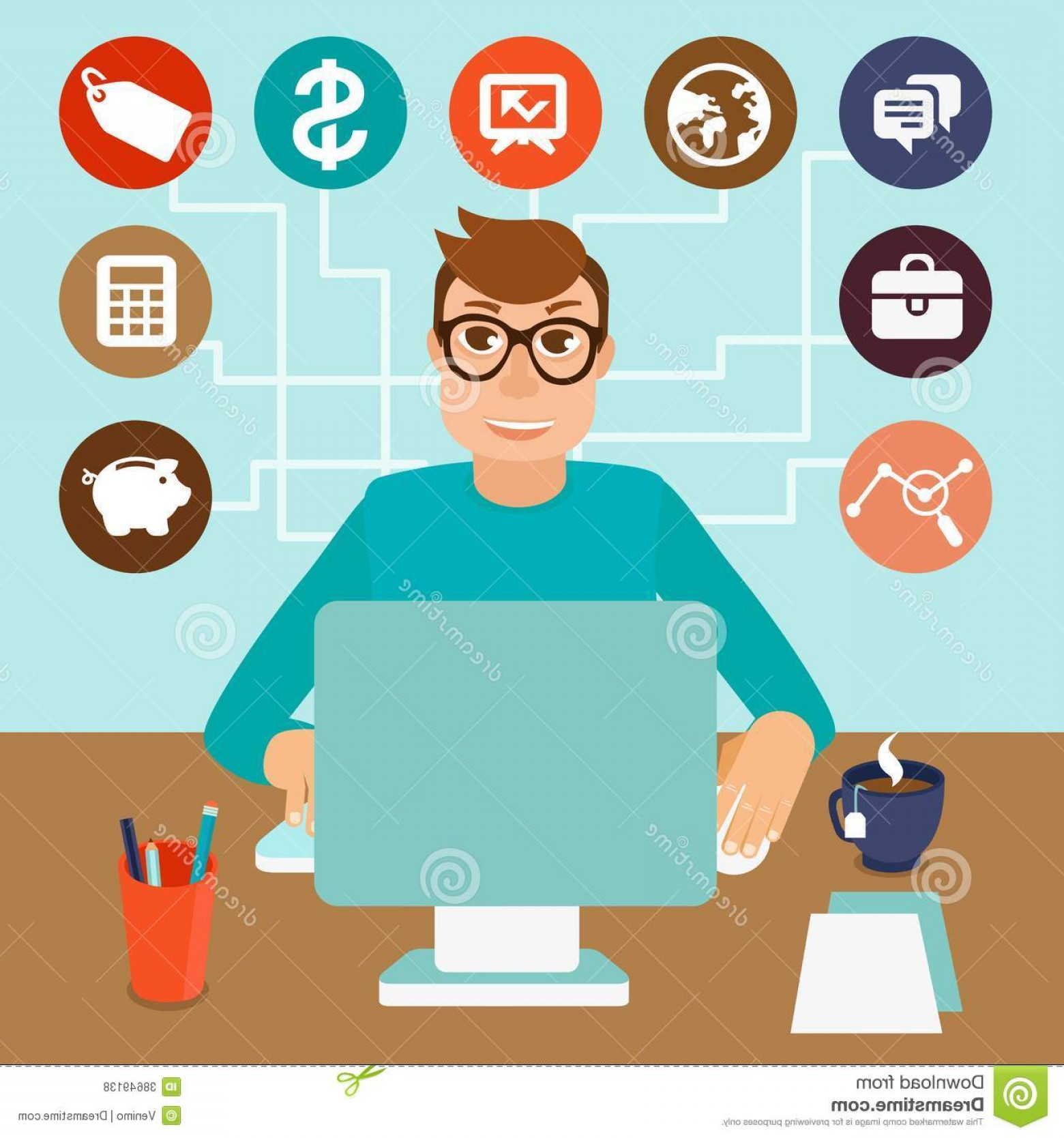 Computer Vector Icon Flat: Royalty Free Stock Photos Vector Self Employed Man Flat Style Sitting Computer Working Freelance Project Infographic Icons Signs Image
