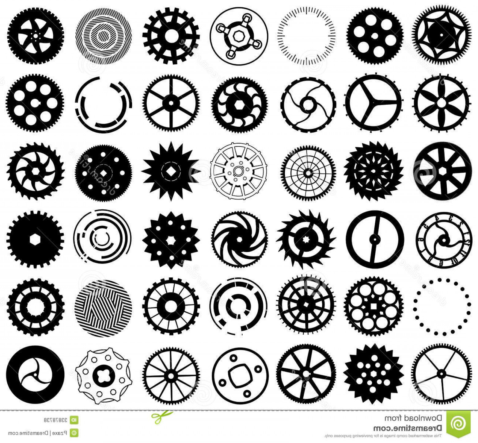Vector Mechanical Clock Wheels: Royalty Free Stock Photos Vector Set Silhouettes Gears Other Round Black Objects Image