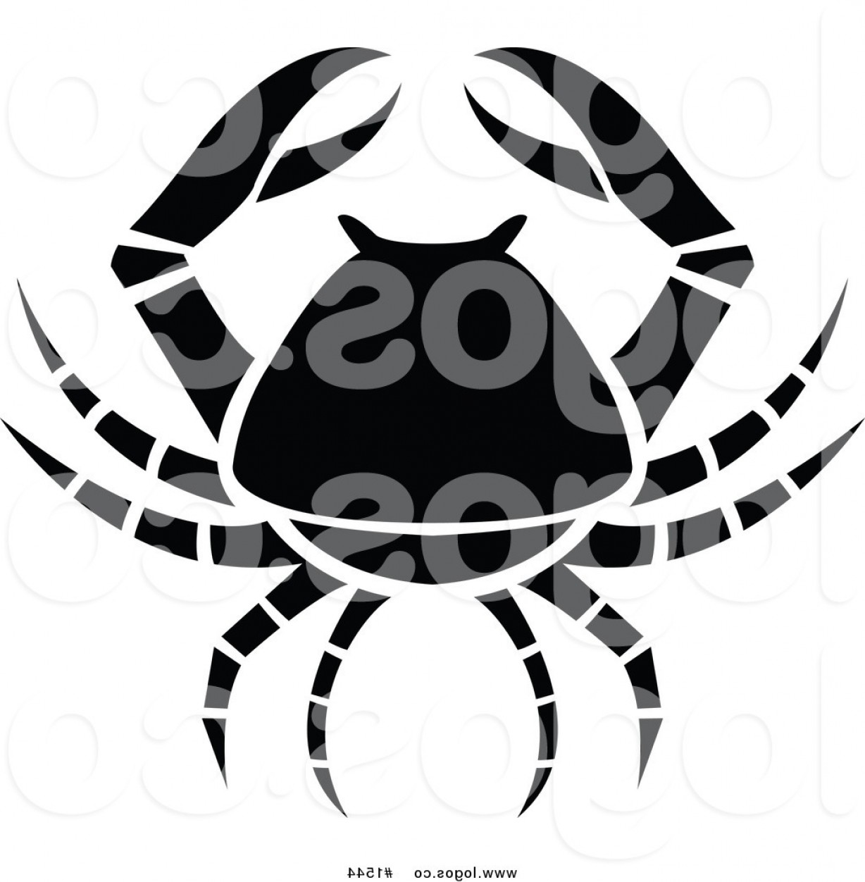 Crab Vector Black: Royalty Free Vector Black And White Crab Cancer Zodiac Logo By Cidepix