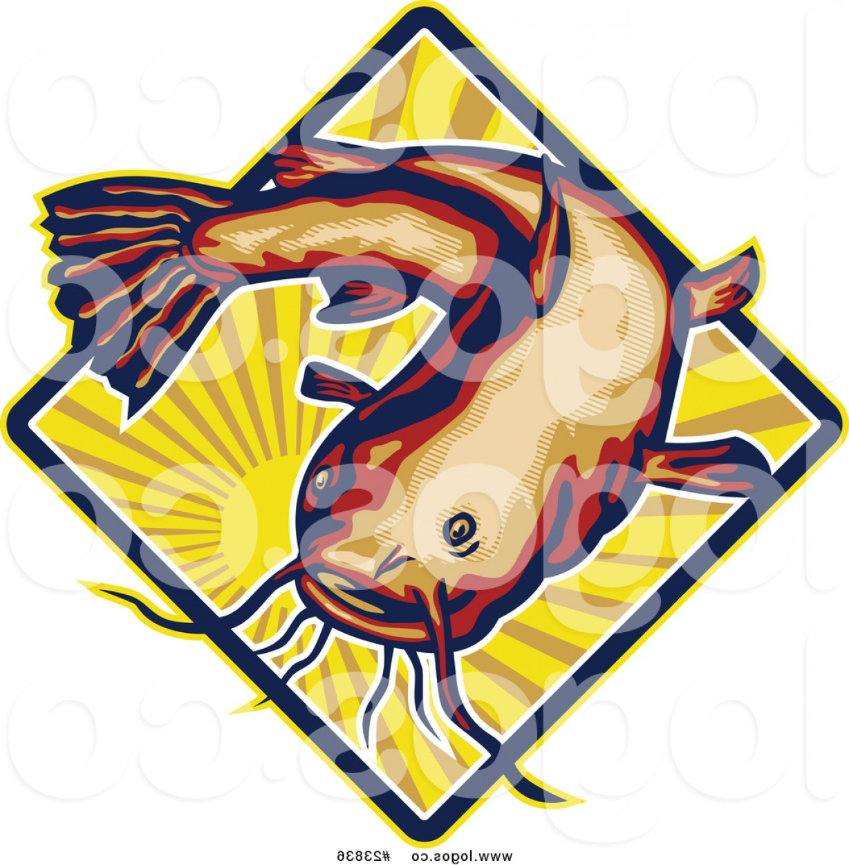 Catfish Vector Logo: Royalty Free Vector Logo Of A Big Catfish Over A Sun With Rays By Patrimonio