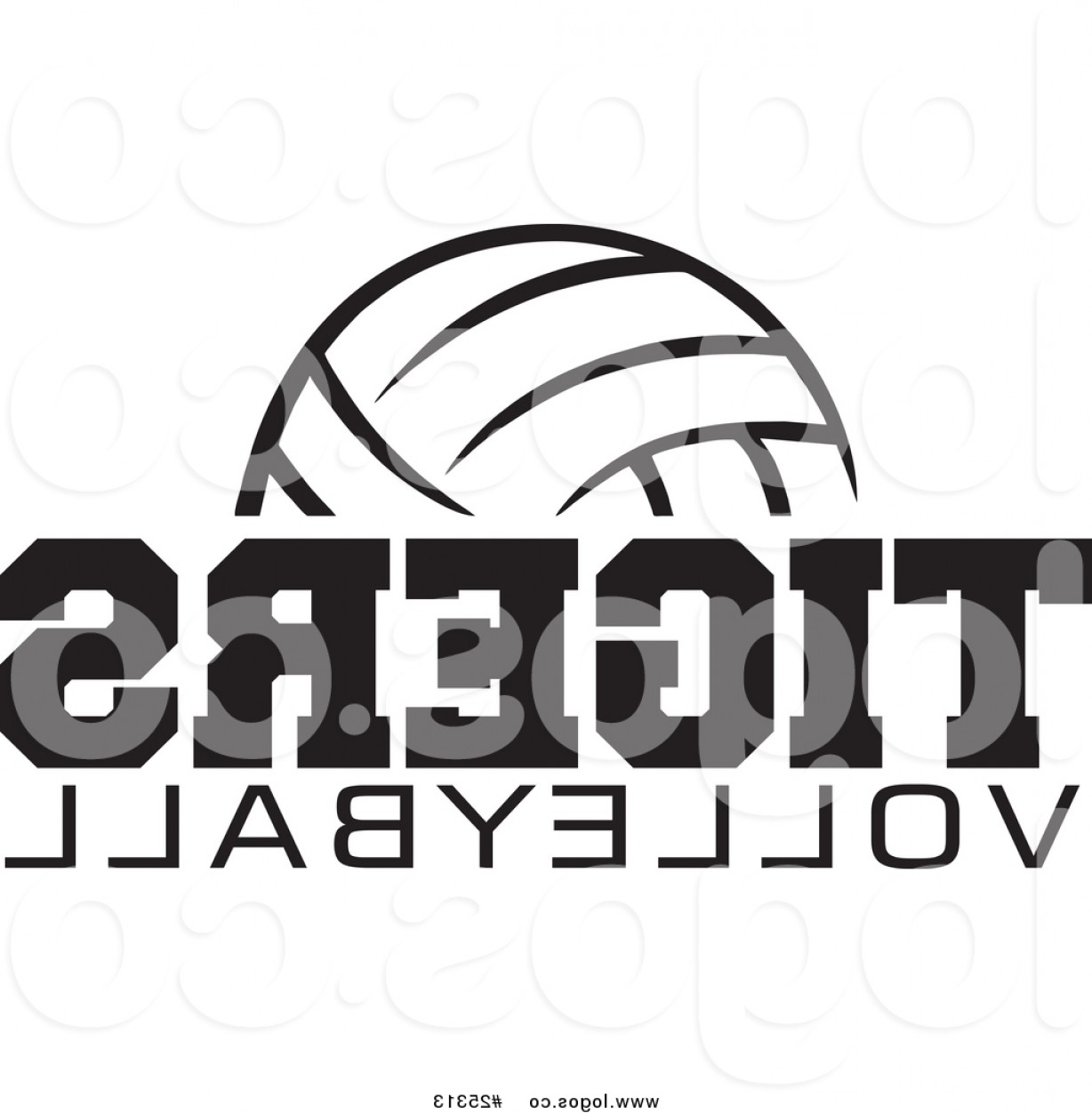 Volleyball Vector Logo: Royalty Free Vector Logo Of A Black And White Ball Over Tigers Volleyball Text By Johnny Sajem