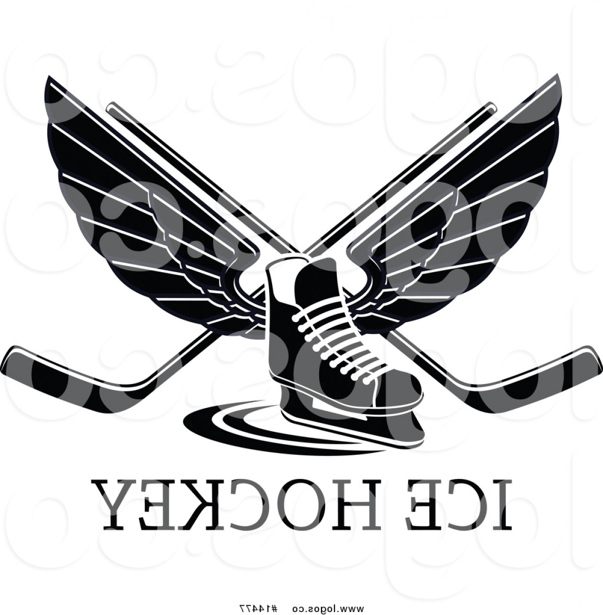 Hockey Skates Vector Art: Royalty Free Vector Logo Of A Black And White Winged Ice Hockey Skate And Crossed Sticks Over Text By Vector Tradition Sm