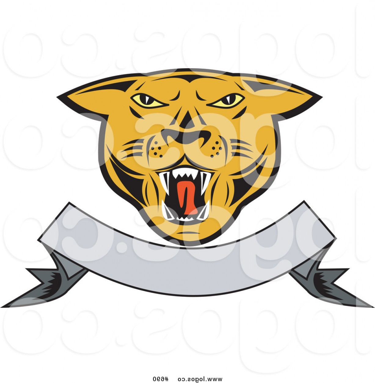 Cougar Logo Vector: Royalty Free Vector Logo Of A Cougar And Banner By Patrimonio