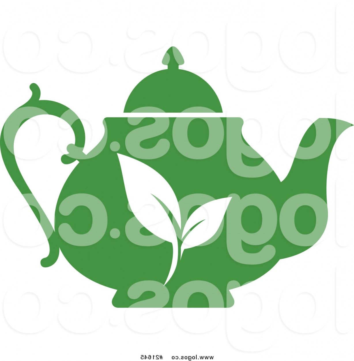 Tea Pot Vector: Royalty Free Vector Logo Of A Green Tea Pot With Plant Leaves On The Side By Vector Tradition Sm