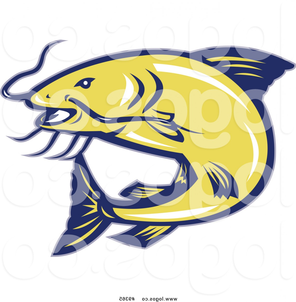 Catfish Vector Logo: Royalty Free Vector Logo Of A Jumping Yellow And Blue Catfish By Patrimonio