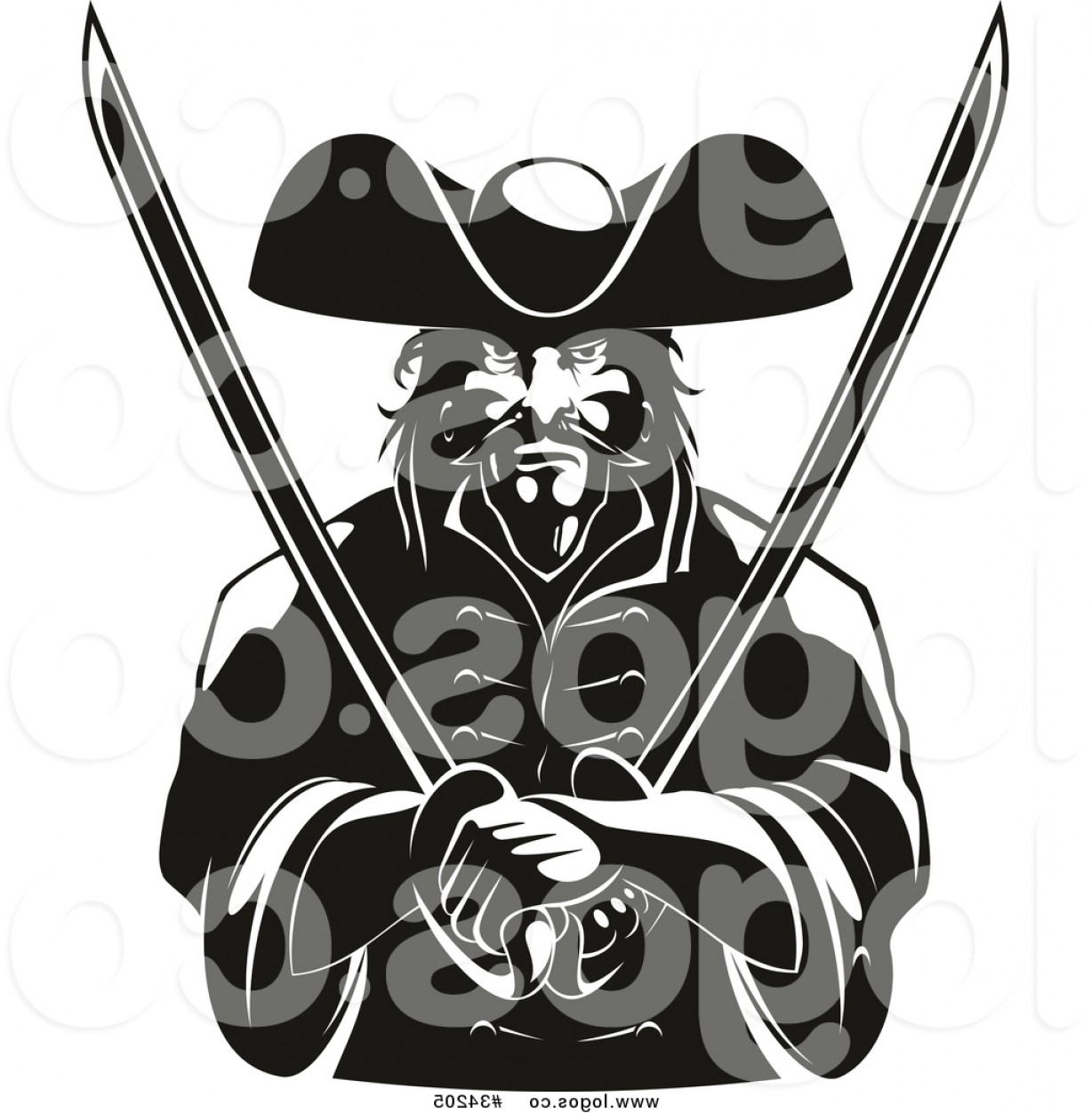 Pirate Swords Crossed Vectors: Royalty Free Vector Logo Of A Pirate Posing With Swords Crossed Over His Chest Black And White Version By Vector Tradition Sm