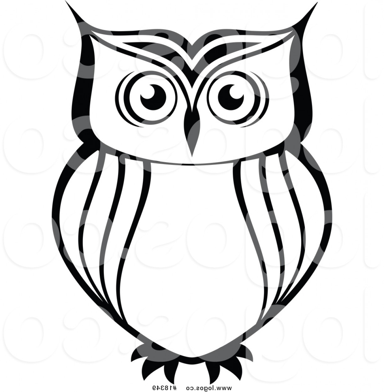 Simple Vector Logo: Royalty Free Vector Logo Of A Simple Black And White Owl By Vector Tradition Sm