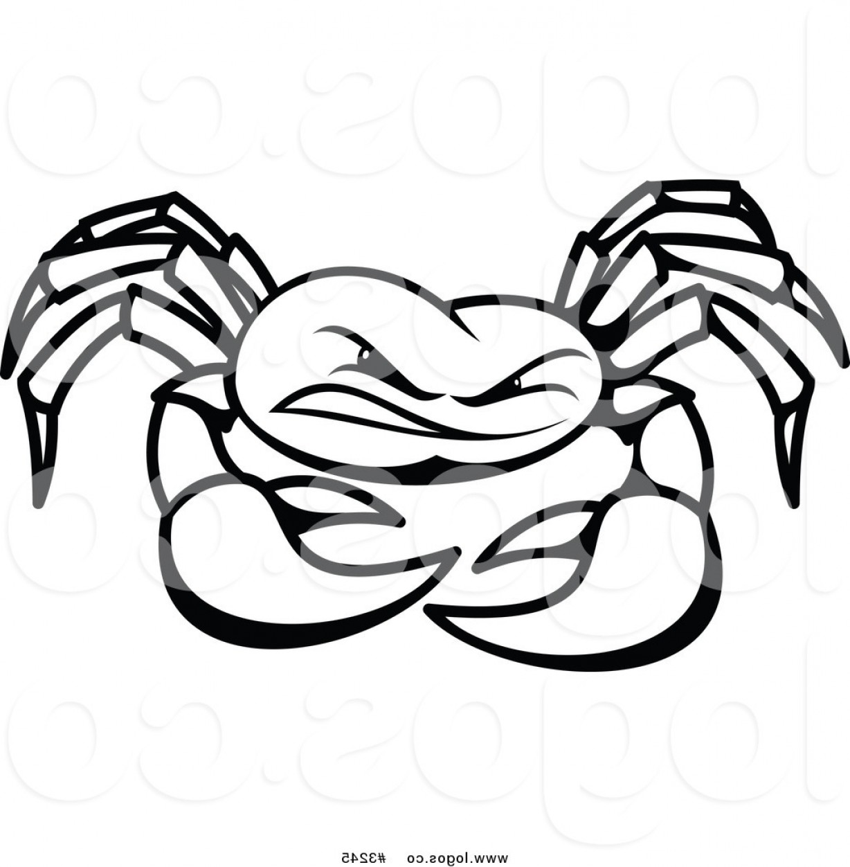 Crab Vector Black: Royalty Free Vector Of A Black And White Crab Logo By Vector Tradition Sm