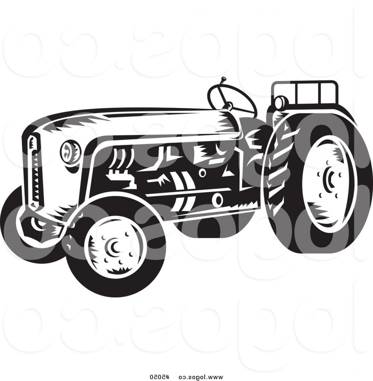 Free Tractor Vector: Royalty Free Vector Of A Black And White Farming Tractor Logo By Patrimonio