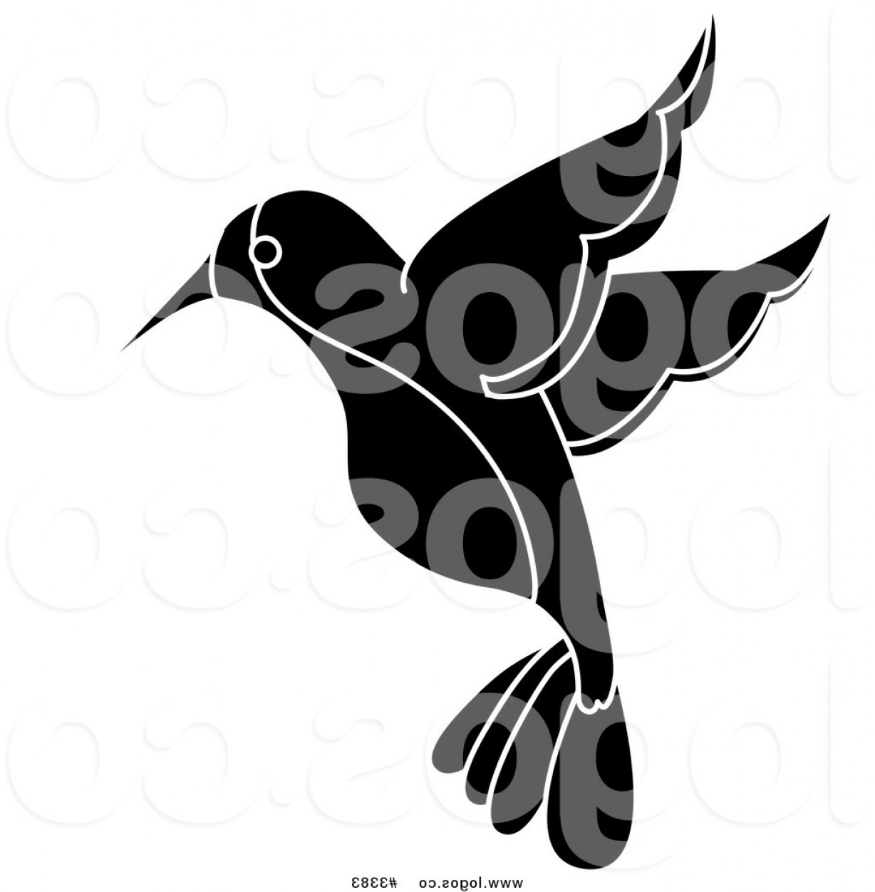 Black And White Bird Free Vector Graphics: Royalty Free Vector Of A Black And White Hummingbird Logo By Pams Clipart