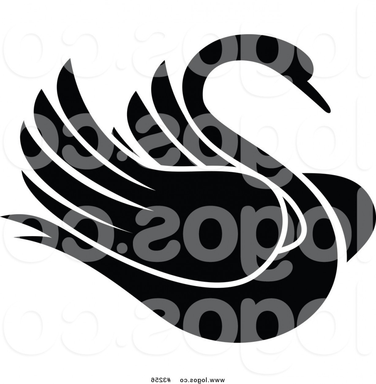 Black And White Bird Free Vector Graphics: Royalty Free Vector Of A Black And White Swan Bird Logo By Vector Tradition Sm