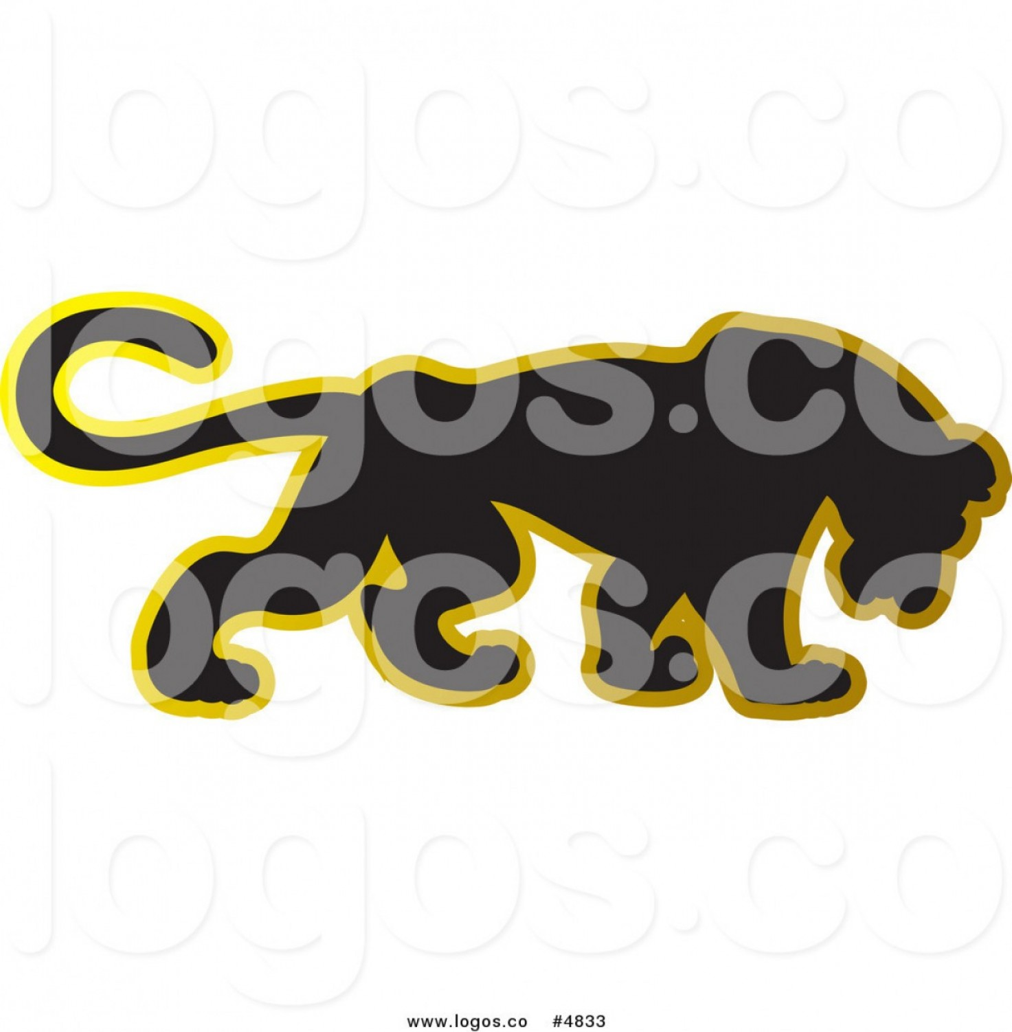 Panther Vector: Royalty Free Vector Of A Black Panther Logo With A Gold Outline By Lal Perera