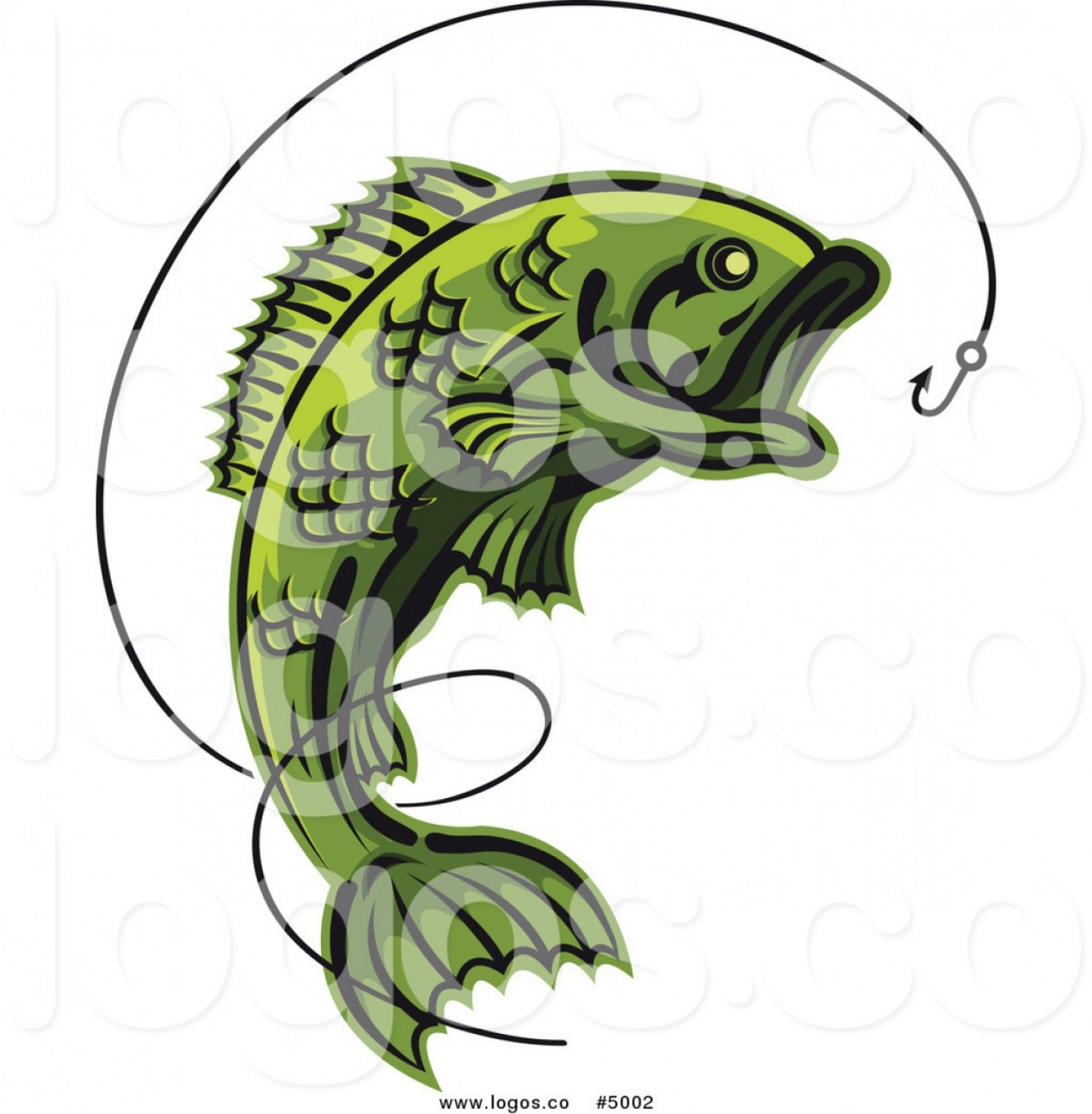 Largemouth Bass Silhouette Vector: Royalty Free Vector Of A Green Leaping Fish And Hook Logo By Vector Tradition Sm