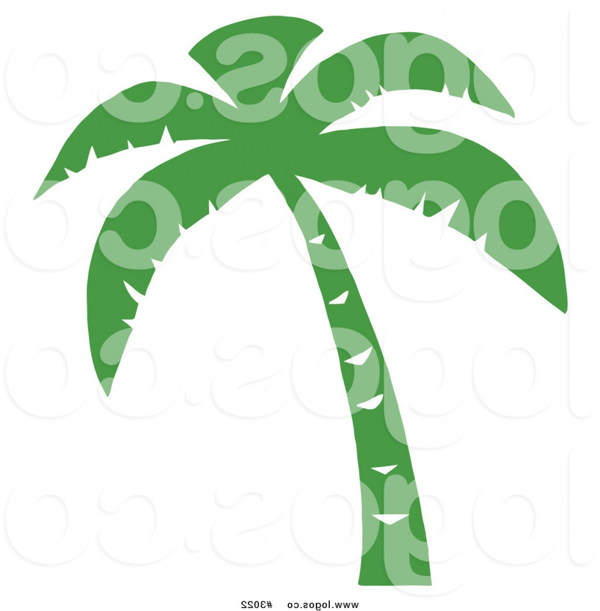 Palm Tree Clip Art Vector: Royalty Free Vector Of A Green Palm Tree Logo By Hit Toon